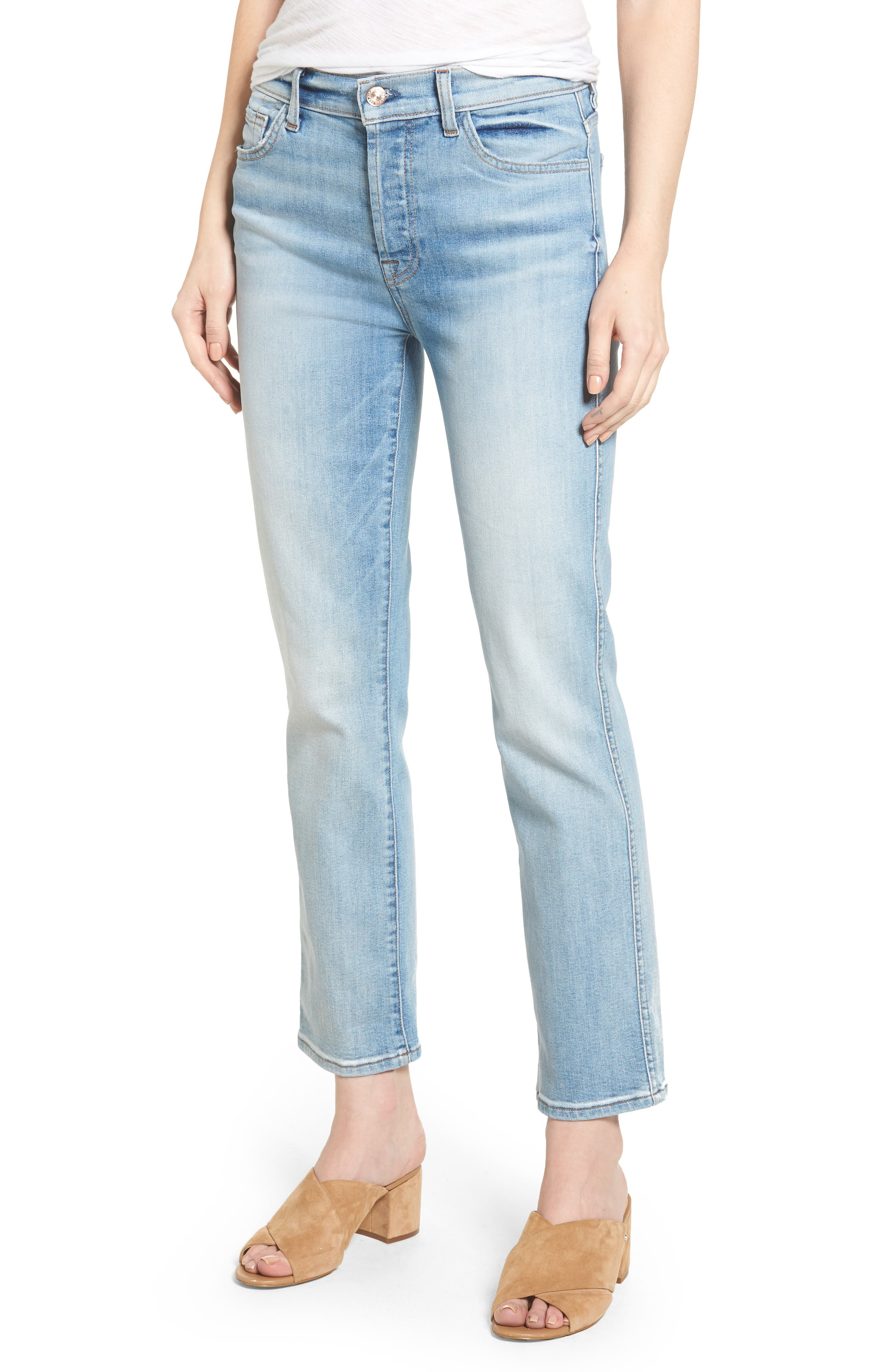 Main Image - 7 For All Mankind® Edie High Waist Crop Jeans (Vintage Azure)