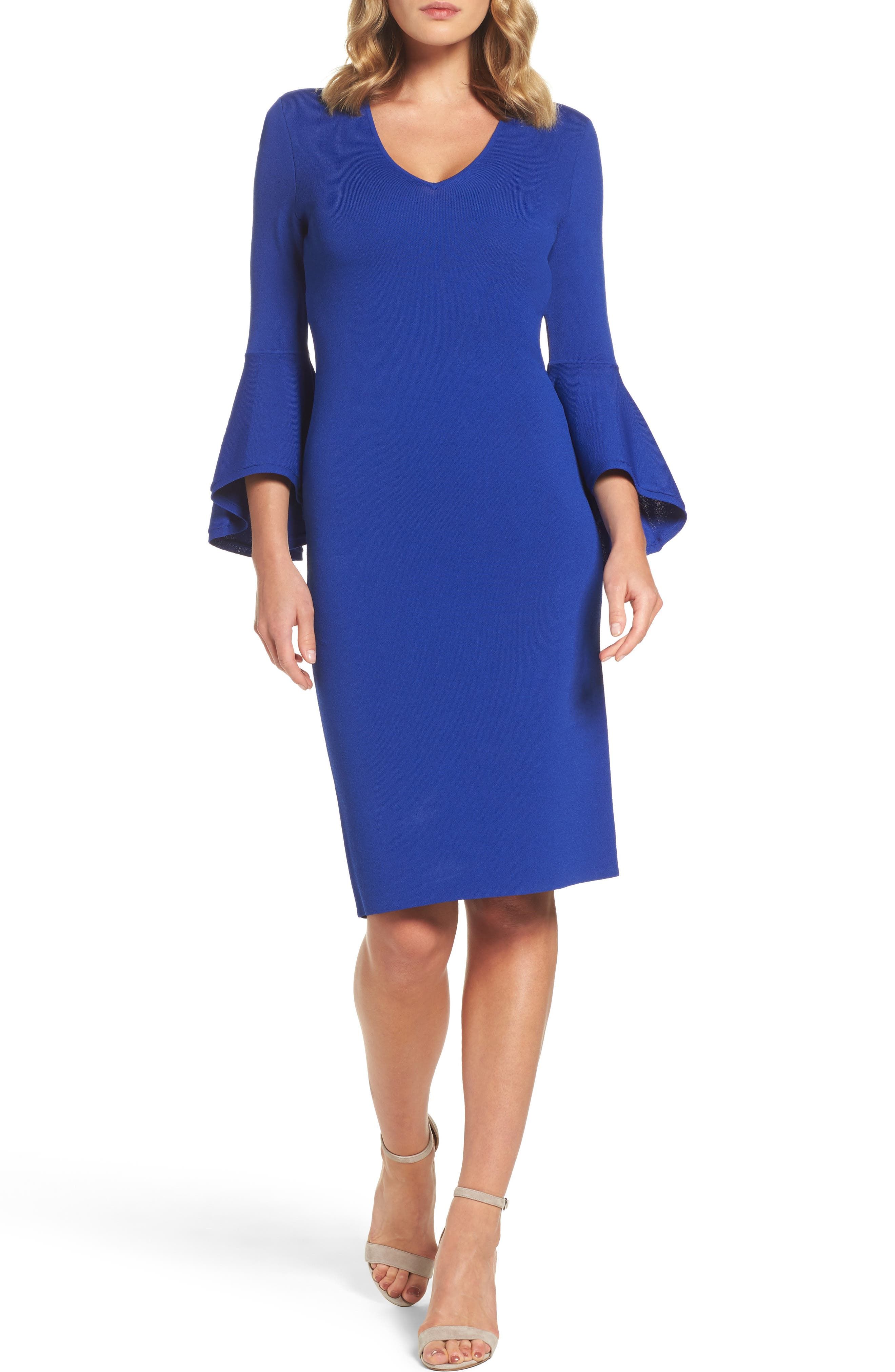 Eliza J Bell Sleeve Sheath Dress (Regular & Petite)