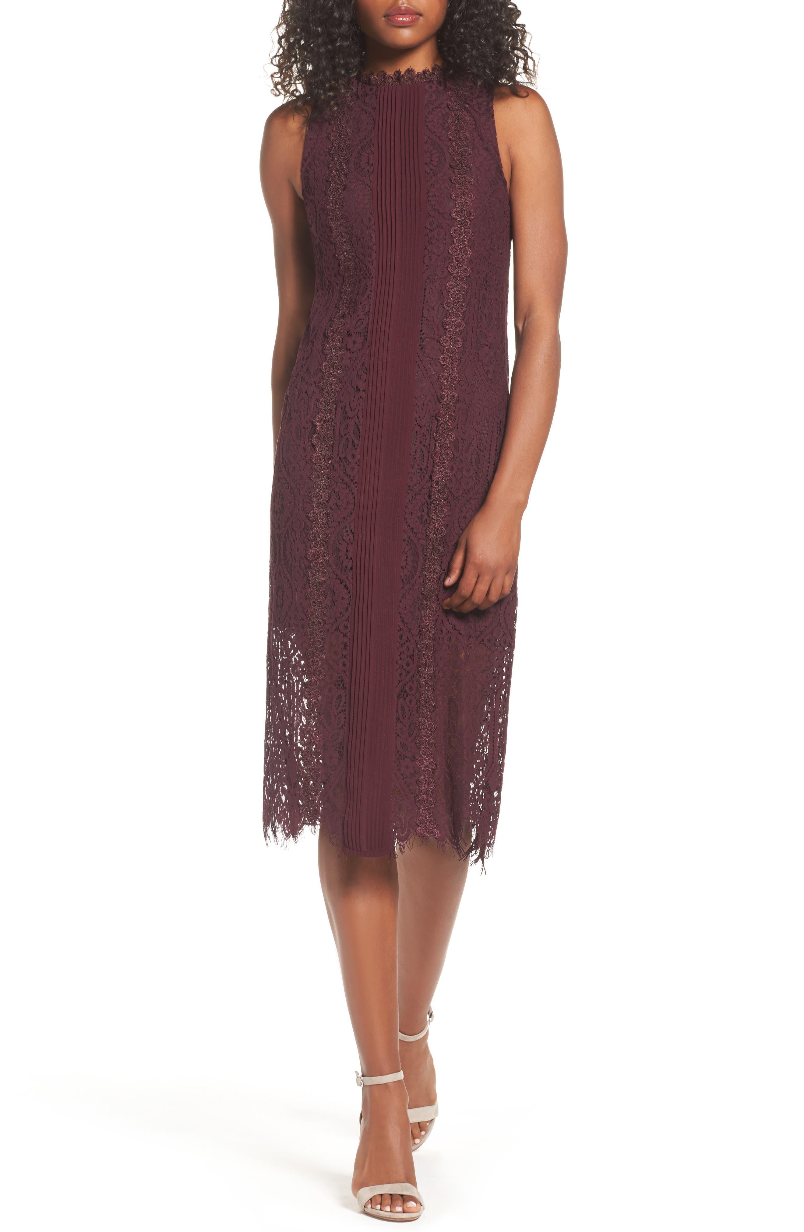 Lace Pleated Midi Dress,                         Main,                         color, Burgundy Stem