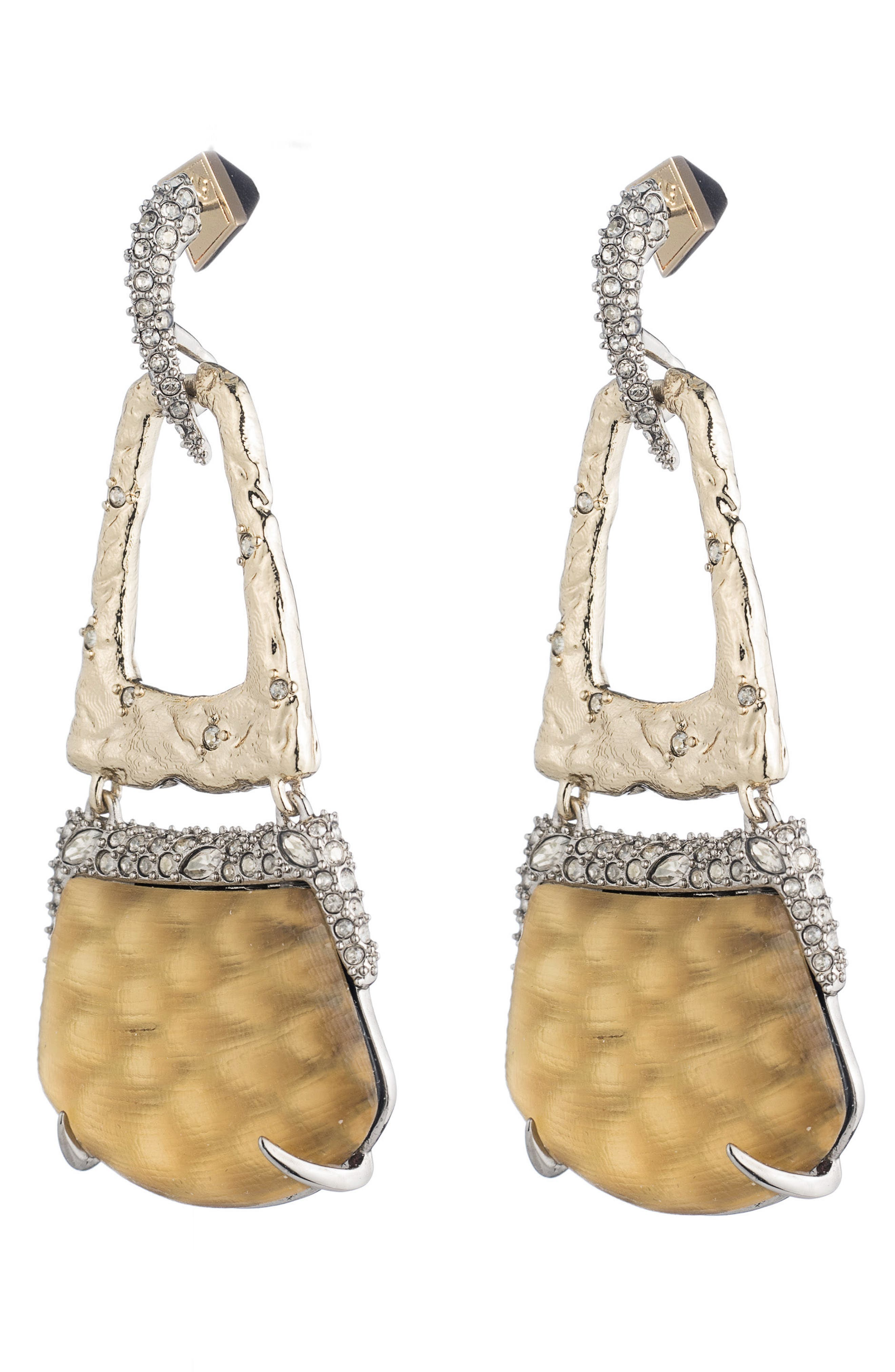 Lucite<sup>®</sup> Crystal Accent Drop Earrings,                             Main thumbnail 1, color,                             Gold Snake Print