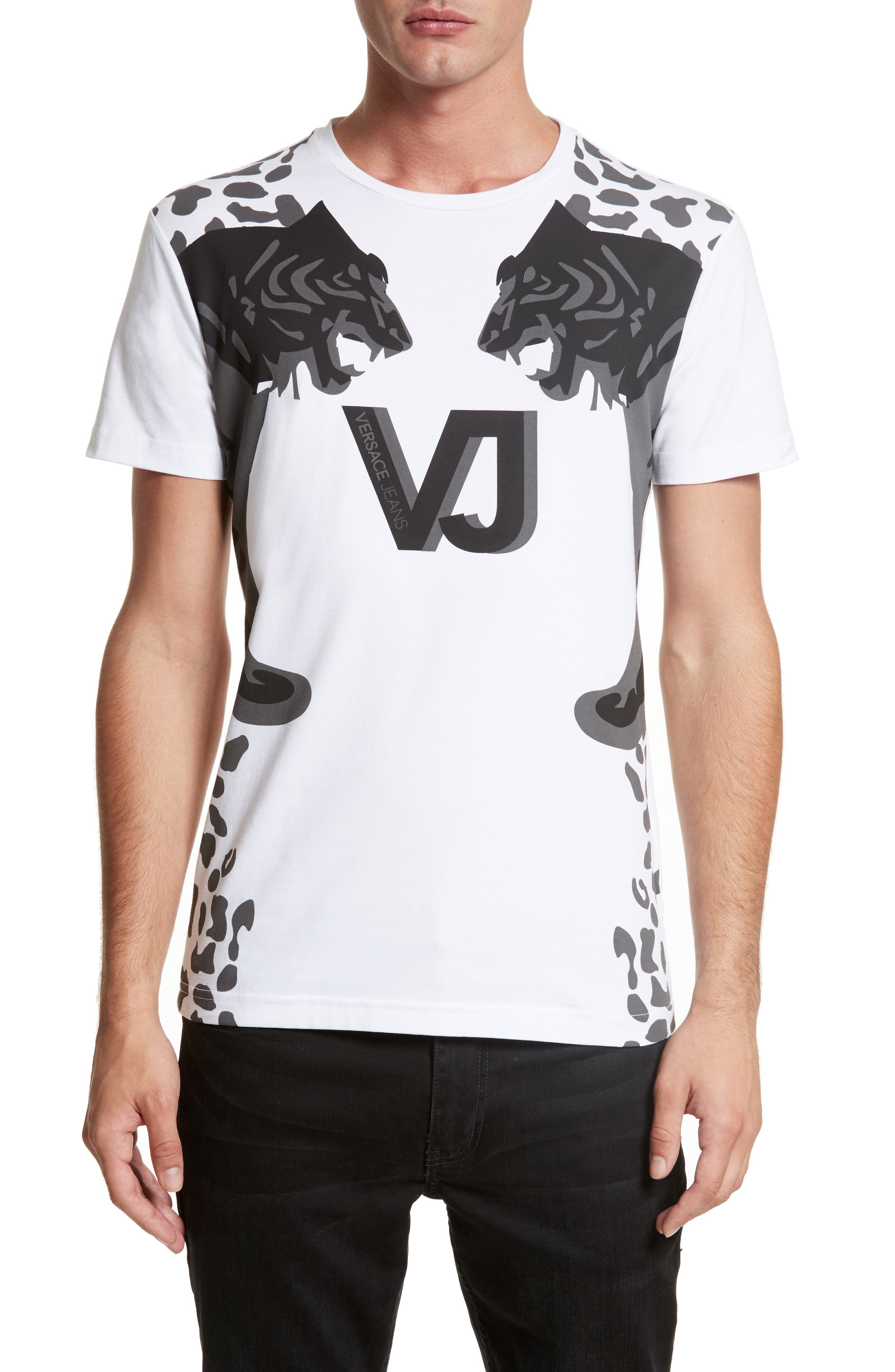 Print T-Shirt,                         Main,                         color, White/ Grey