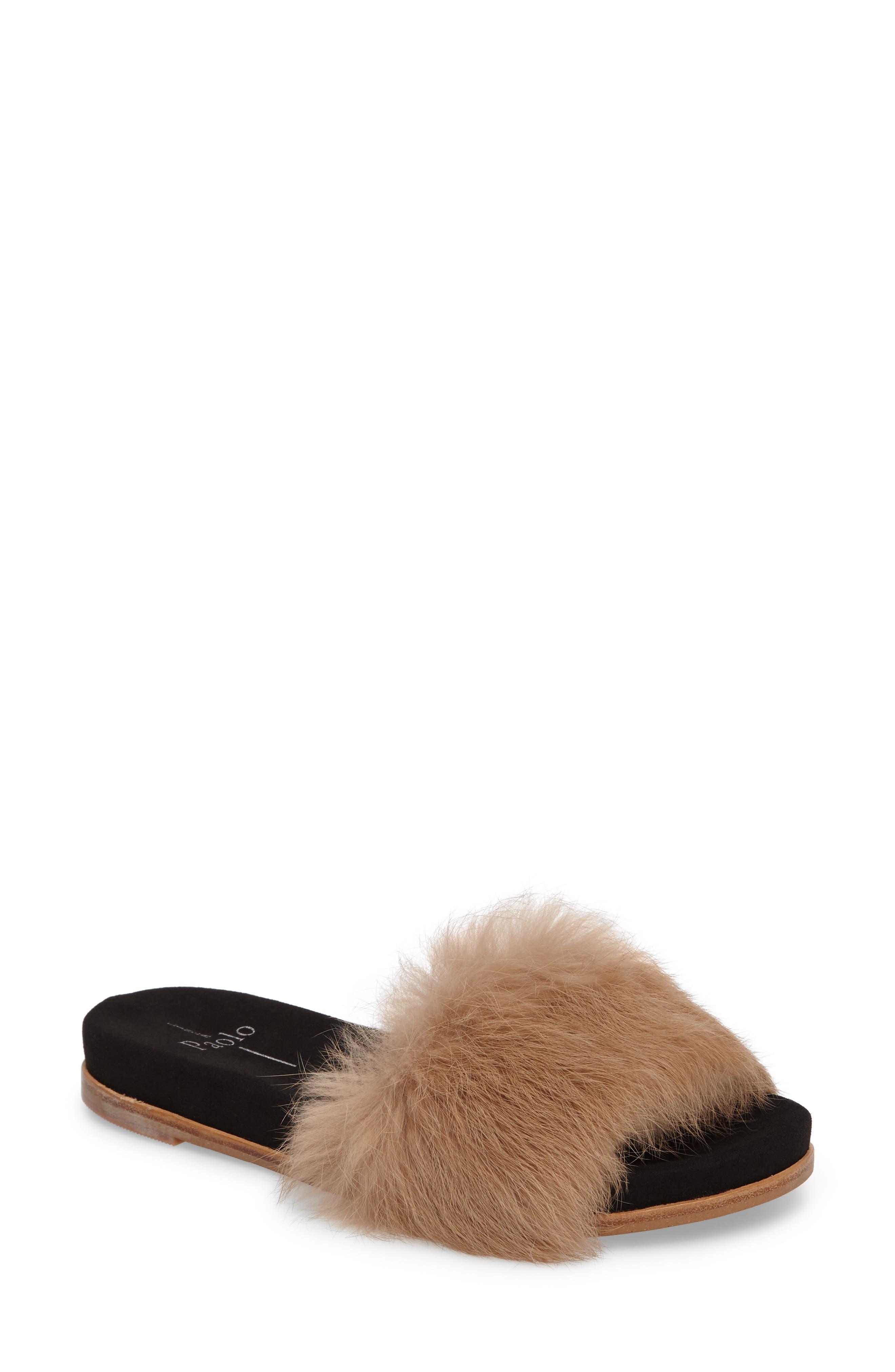 Linea Paolo Lisa Genuine Rabbit Fur Slide Sandal (Women)