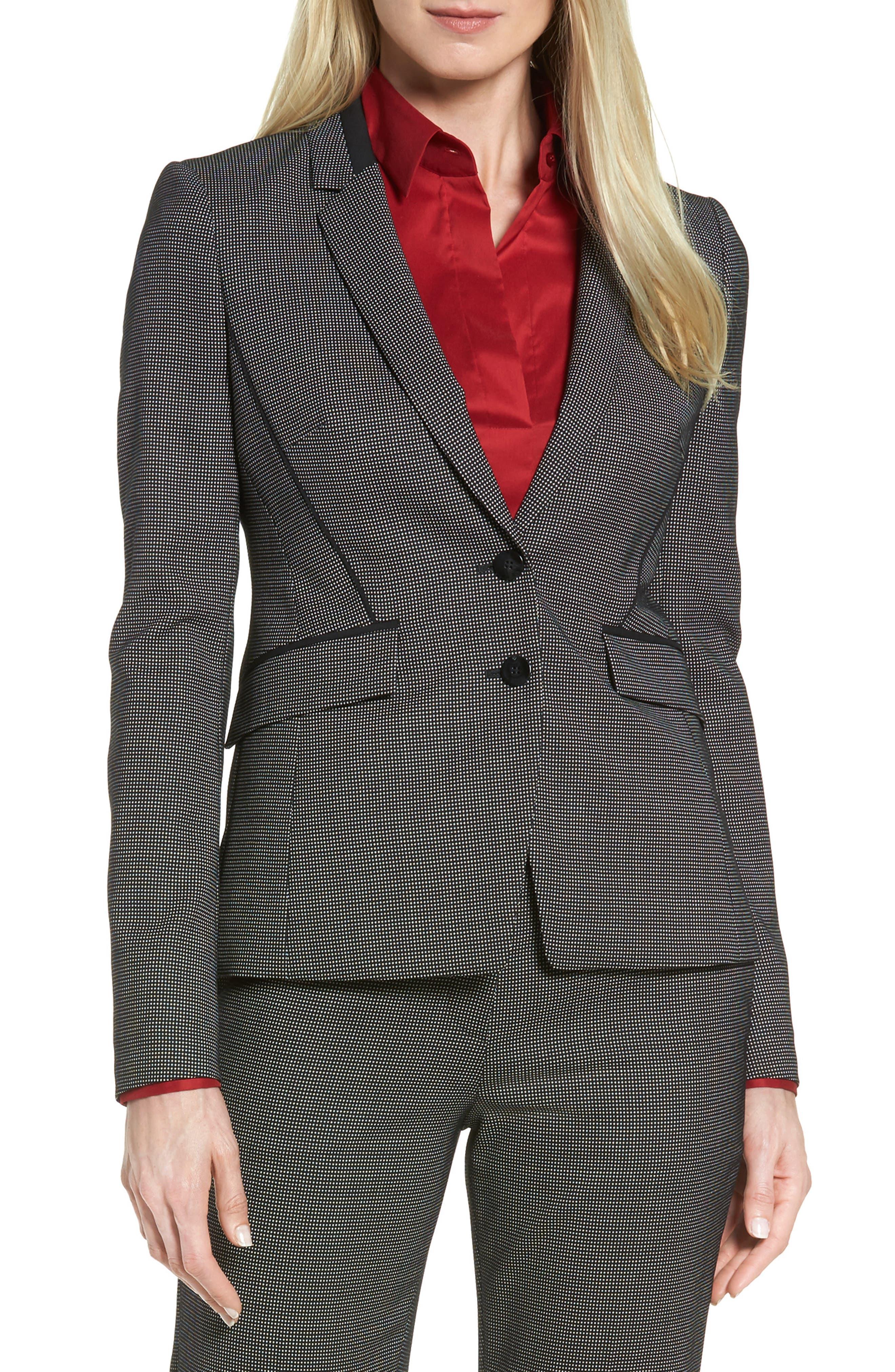 Jelisana Stretch Wool Suit Jacket,                         Main,                         color, Black Fantasy