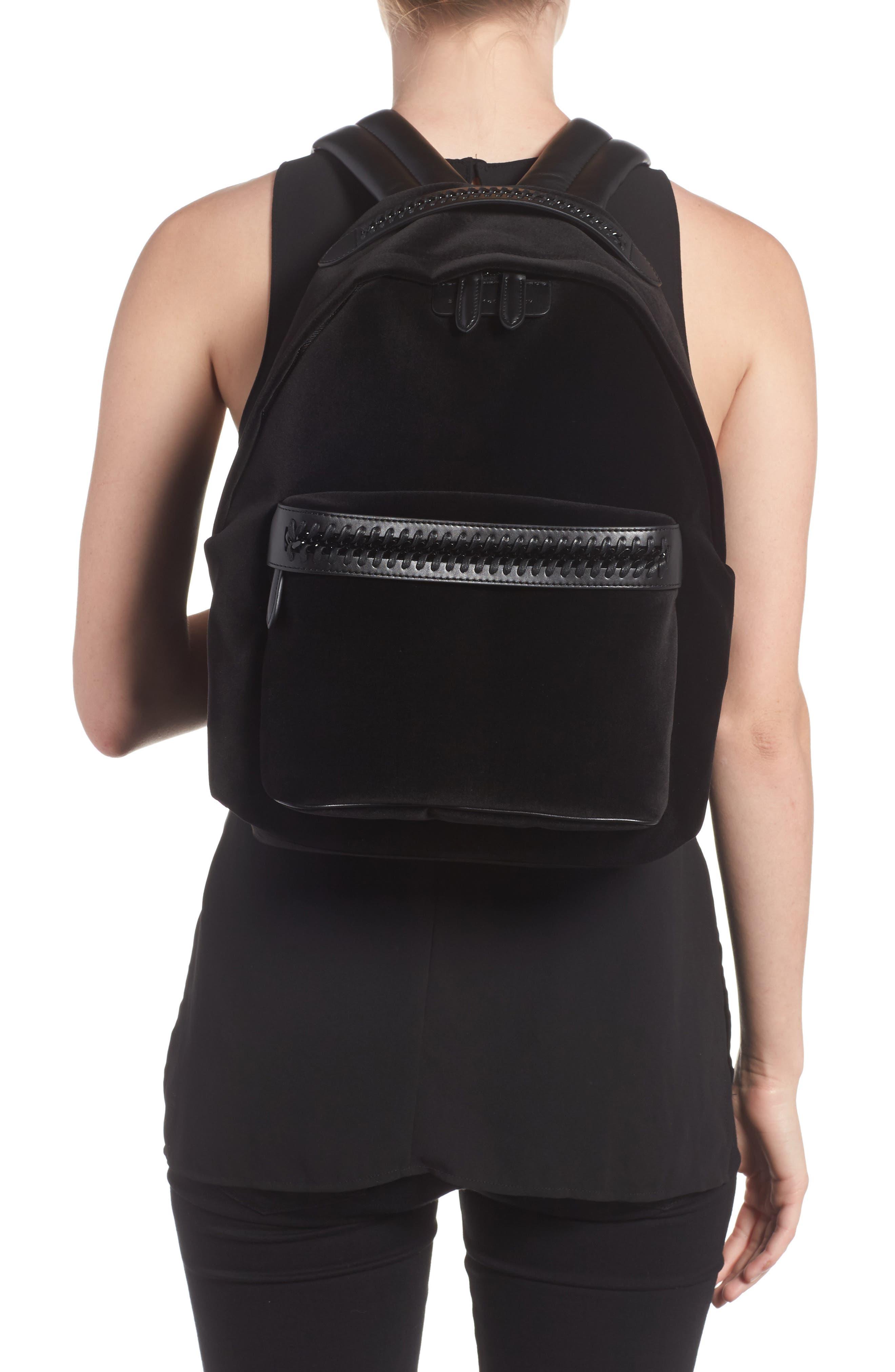 Medium Falabella Velvet Backpack,                             Alternate thumbnail 2, color,                             Black