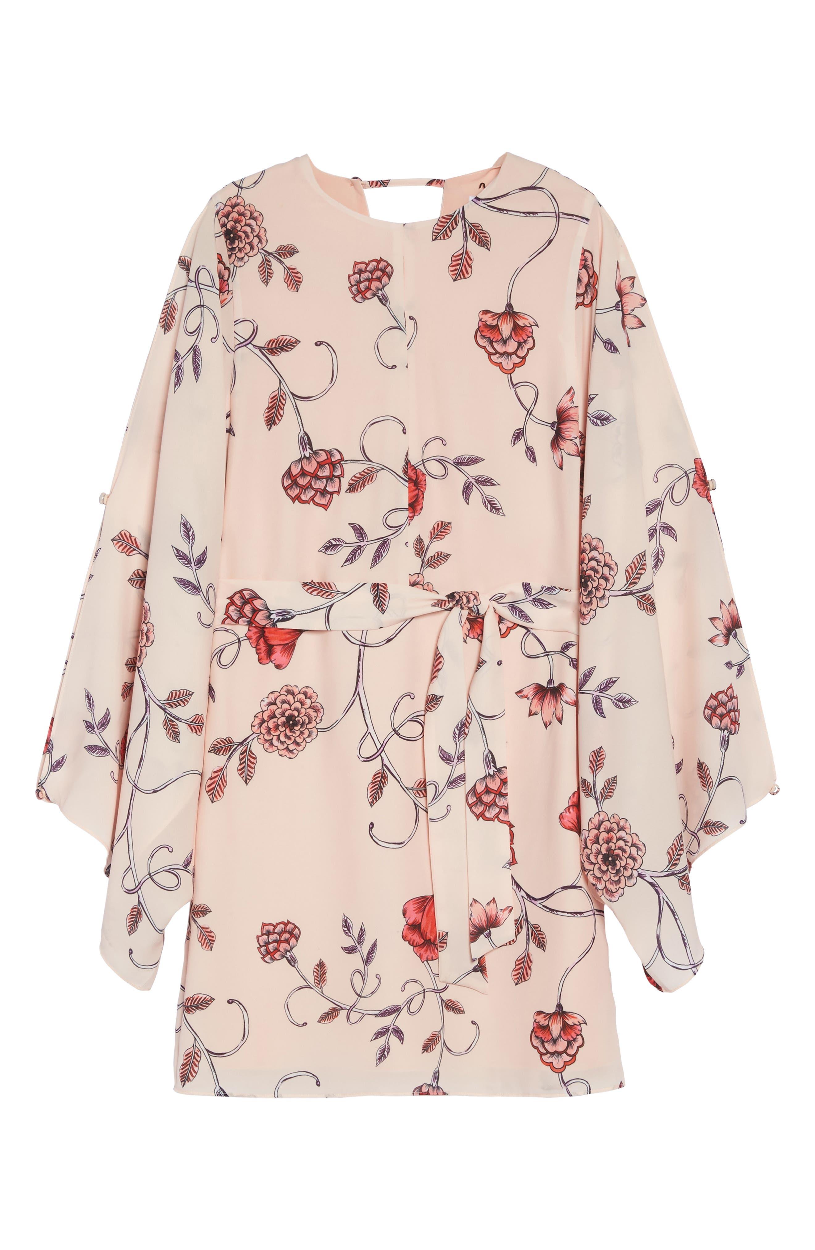 Sakura Bell Sleeve Dress,                             Alternate thumbnail 6, color,                             Pink Print