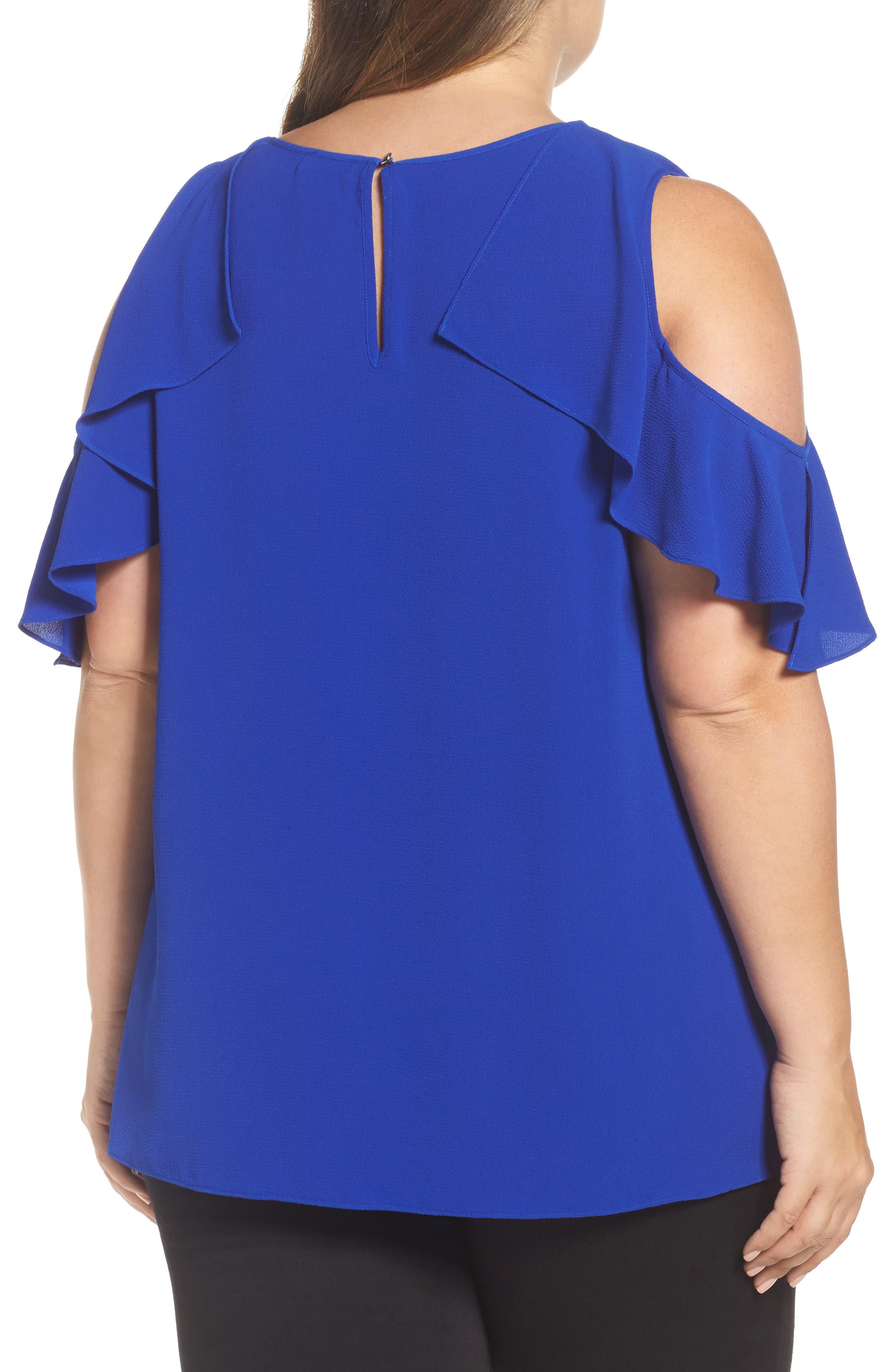 Flutter Sleeve Cold Shoulder Blouse,                             Alternate thumbnail 2, color,                             Vivid Blue
