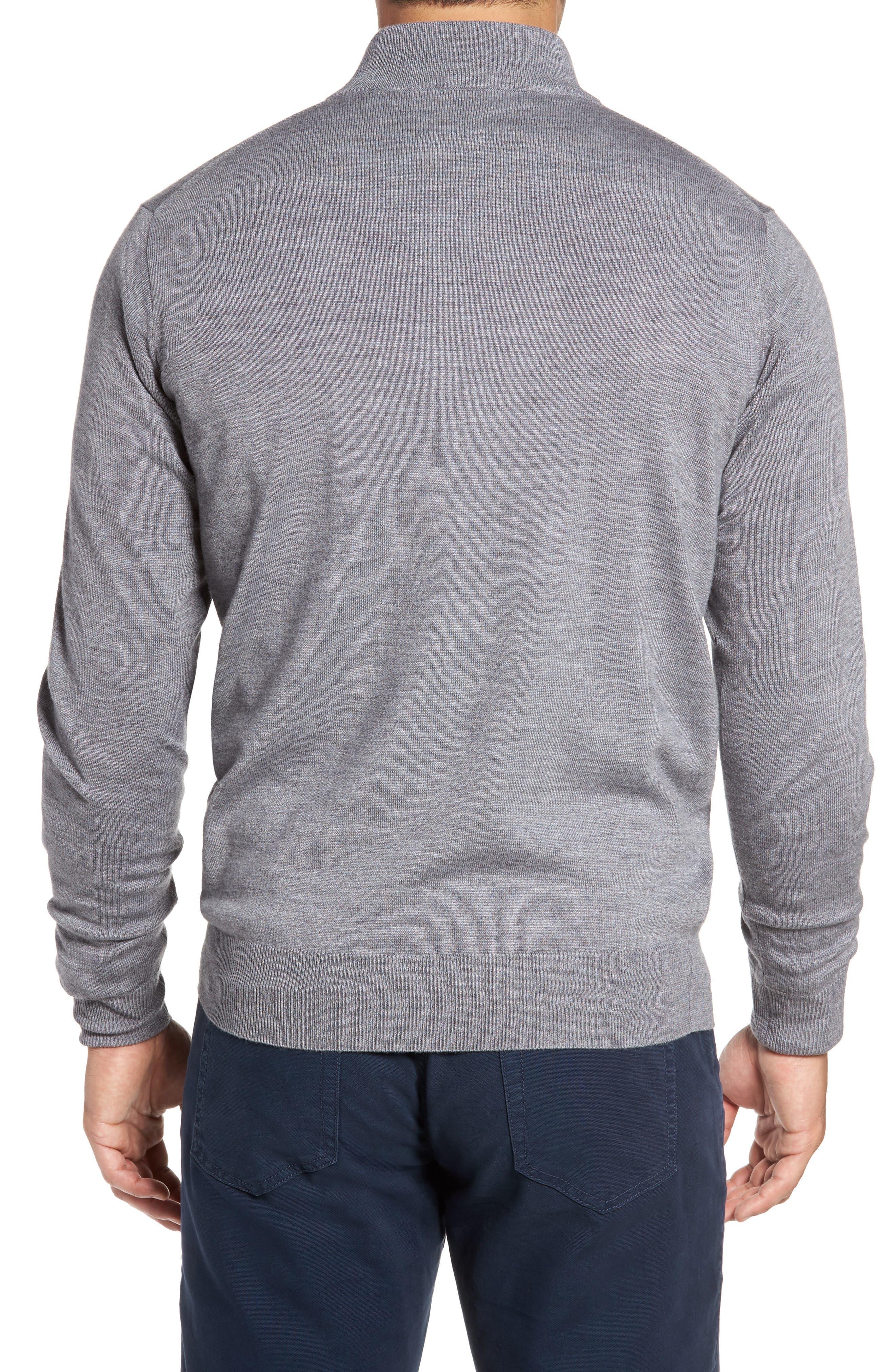 Merino Wool & Silk Quarter Zip Pullover,                             Alternate thumbnail 2, color,                             Flannel