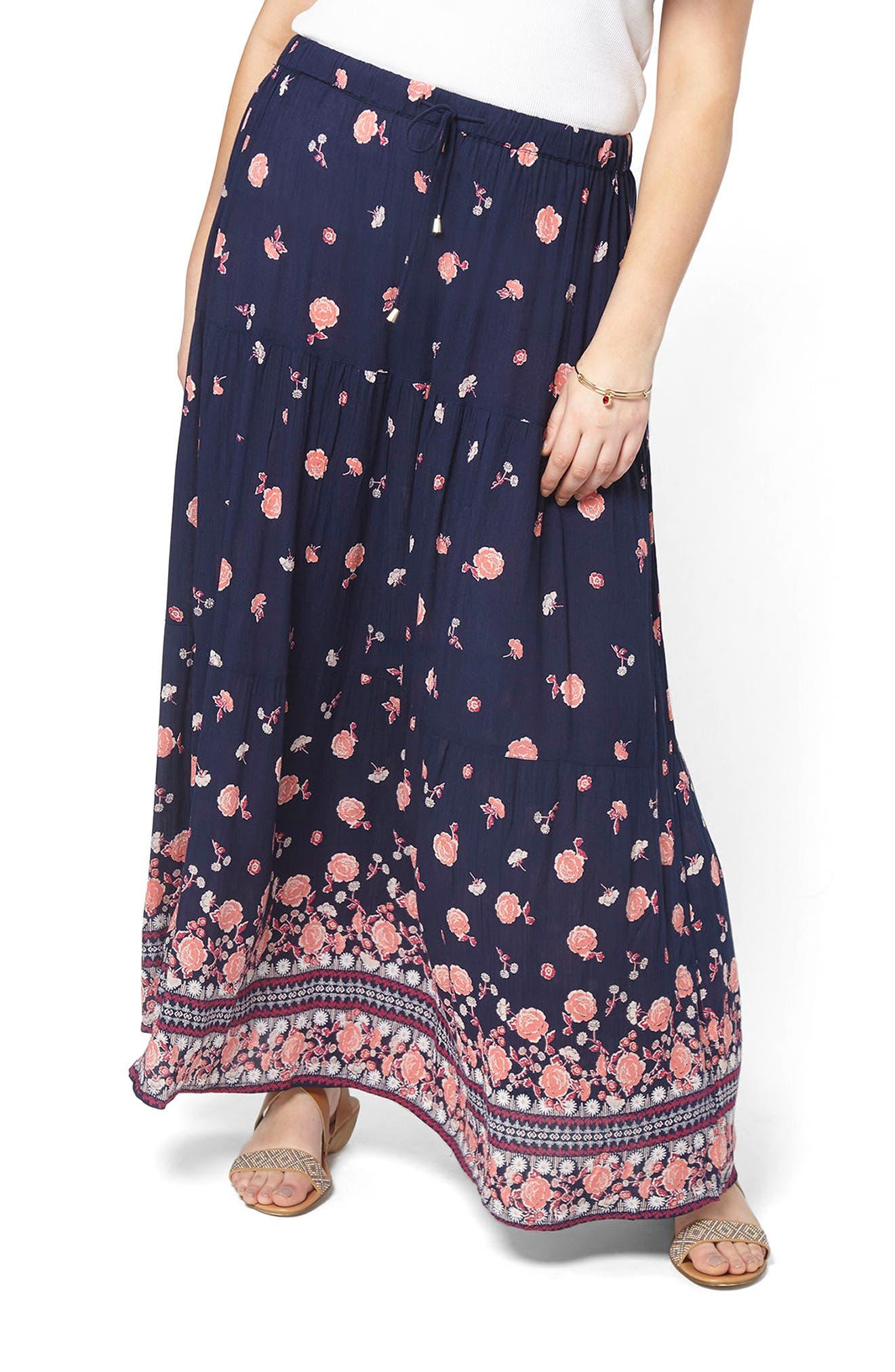 Evans Border Print Maxi Skirt (Plus Size)