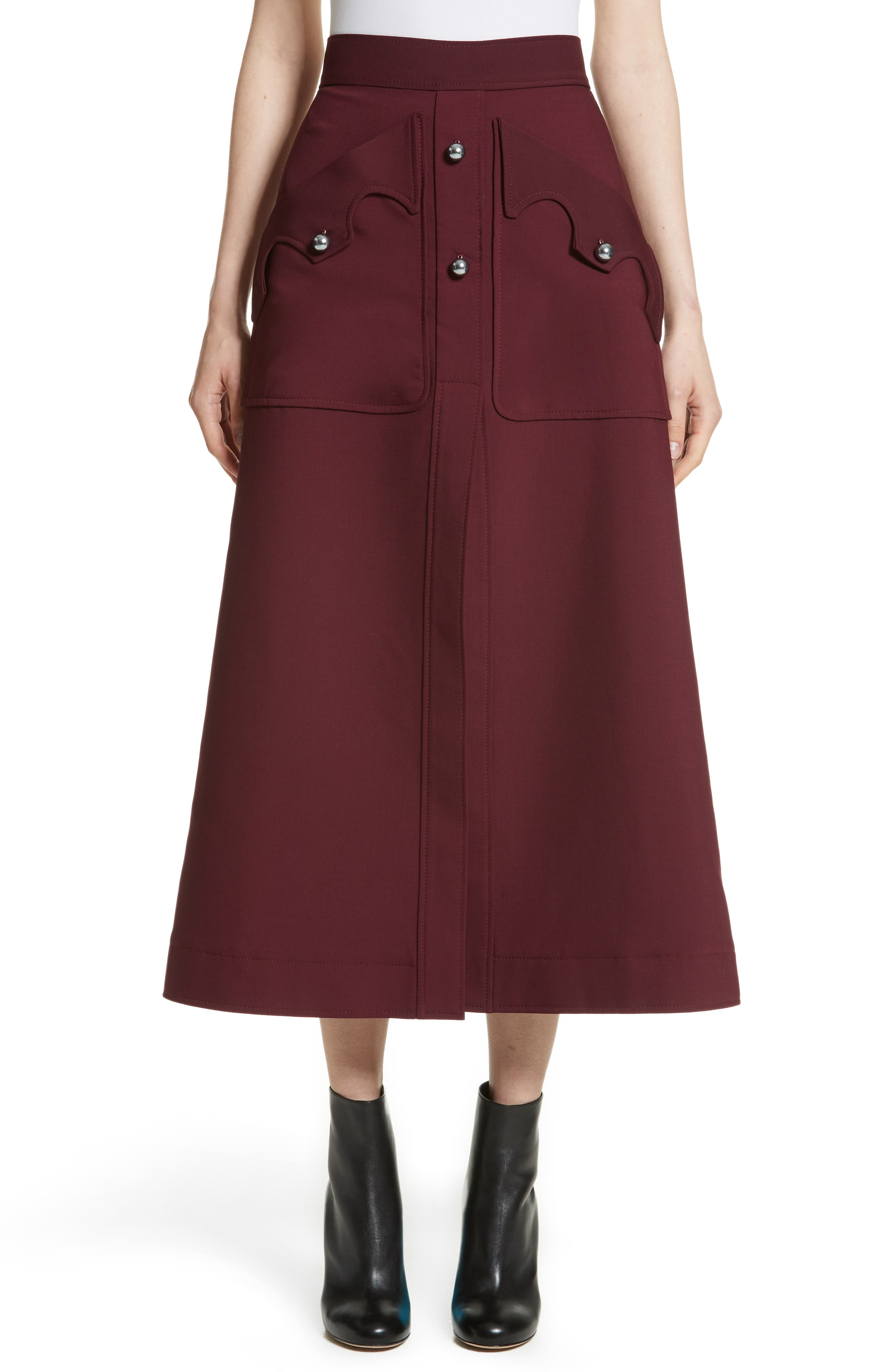 ELLERY Professor Patch Pocket Midi Skirt