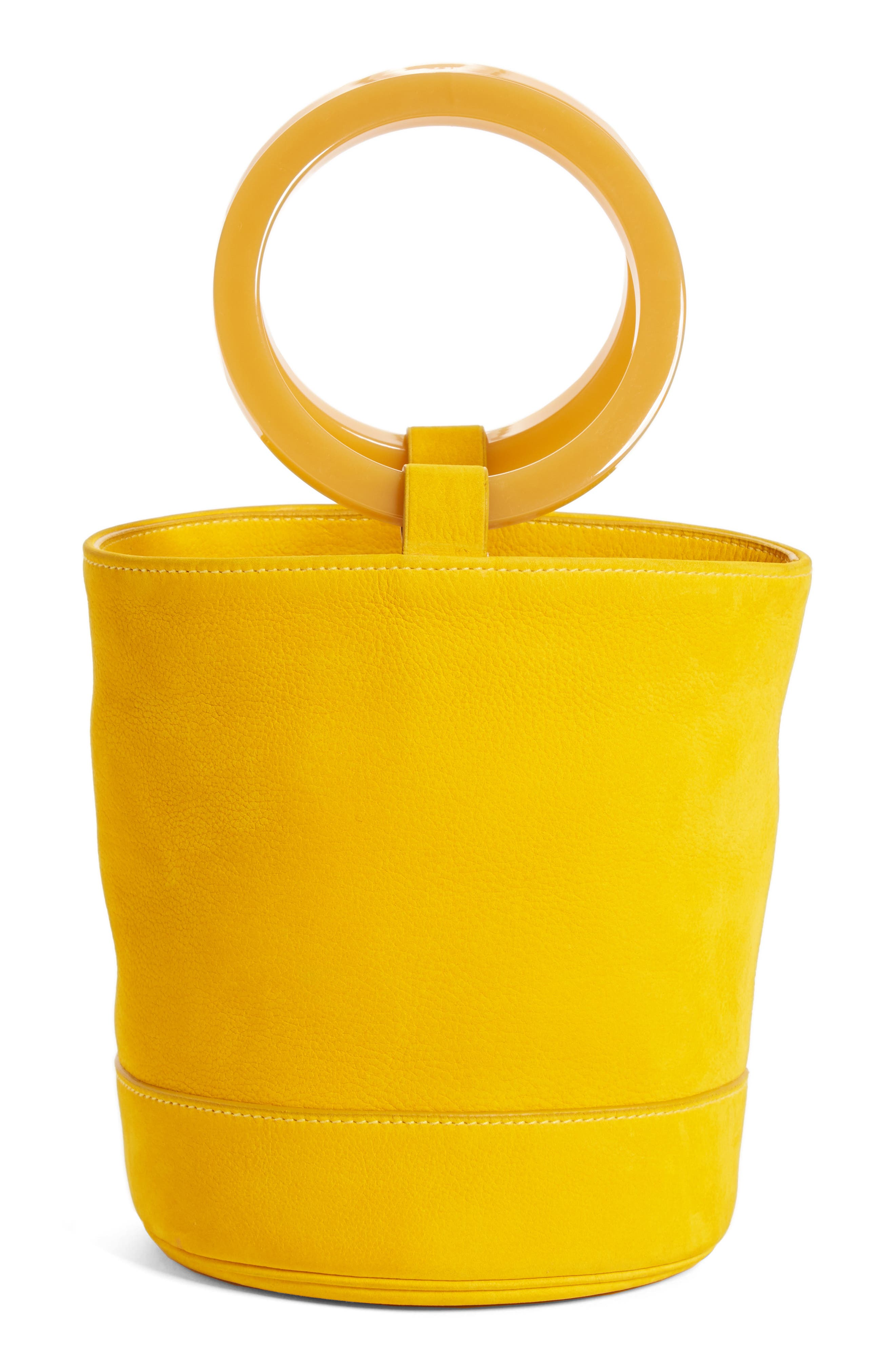 Bonsai Nubuck Bucket Bag,                         Main,                         color, Maize With Acetate Ring
