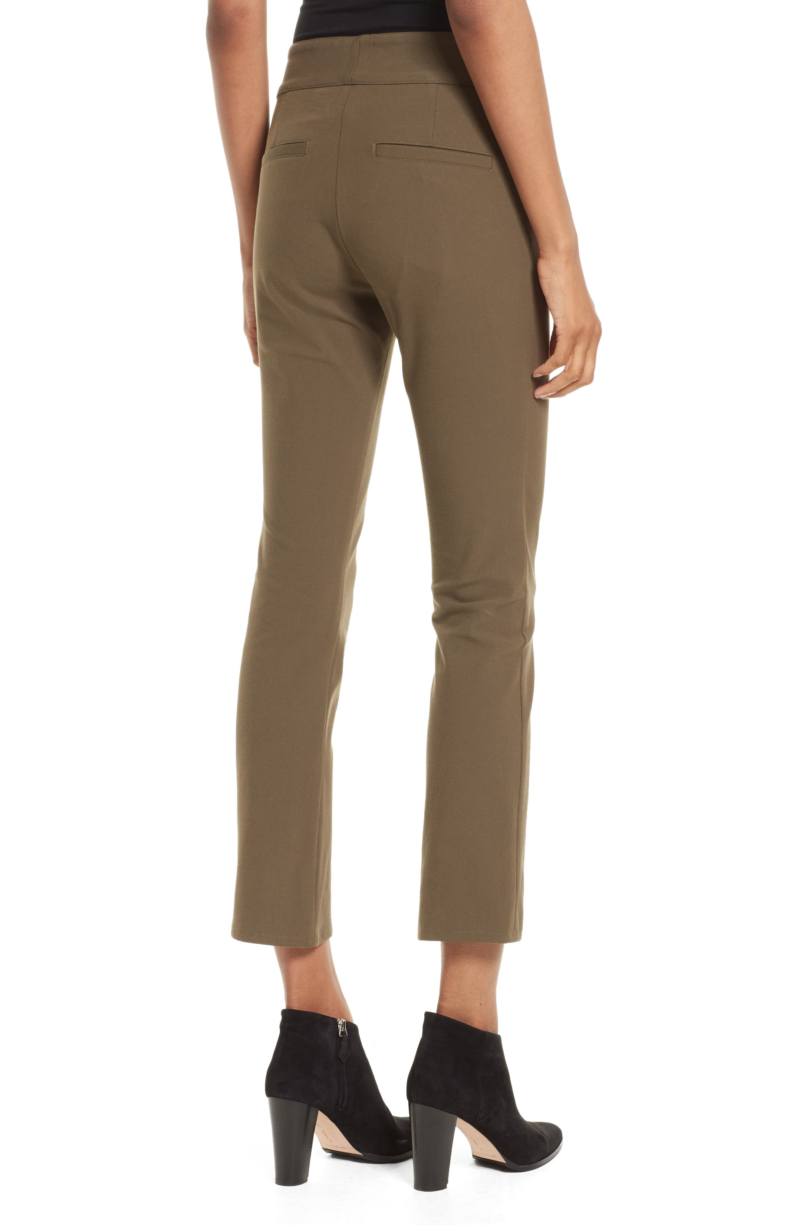 Adelaide Zipper Detail Crop Pants,                             Alternate thumbnail 2, color,                             Army Green
