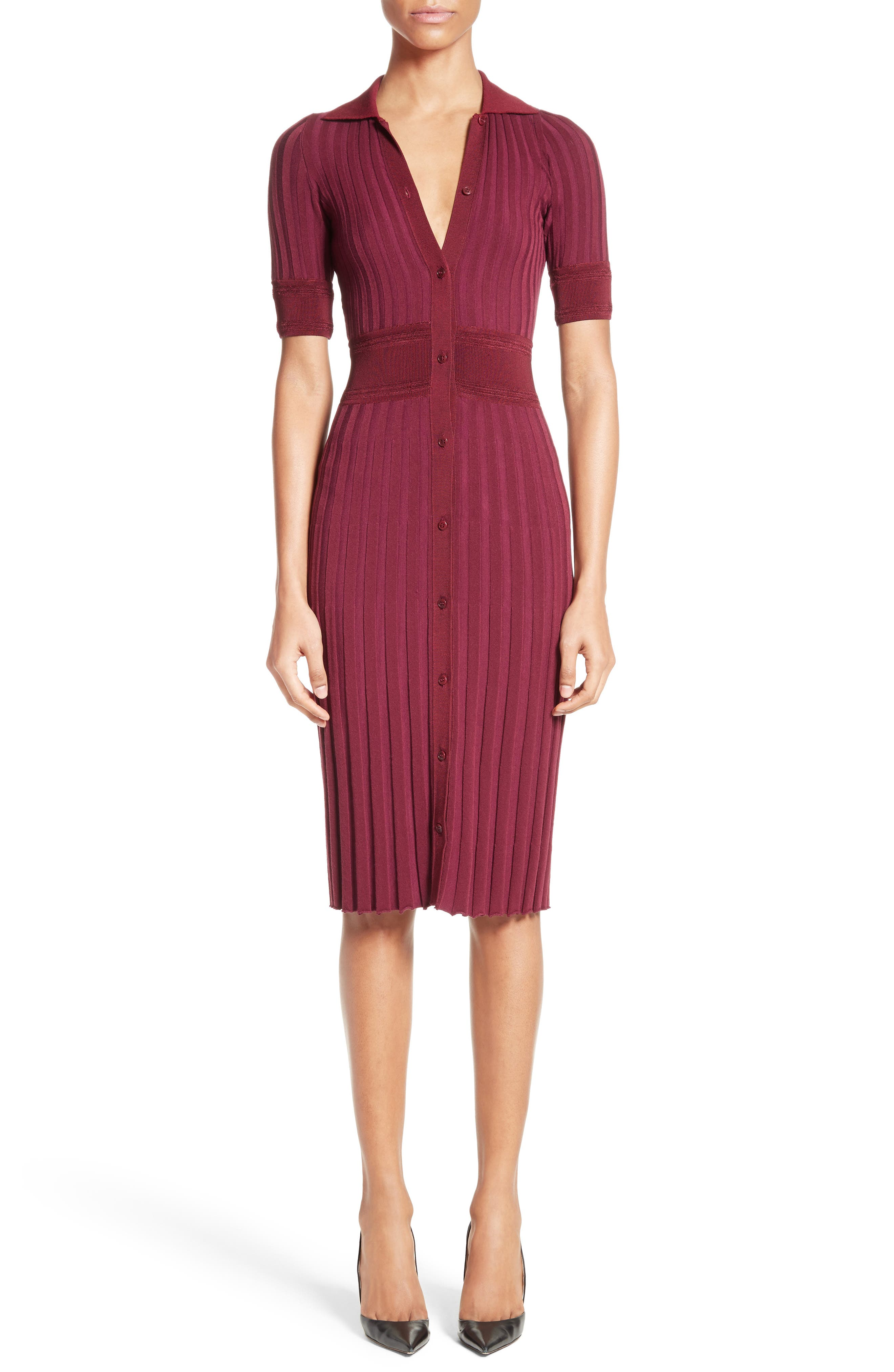 Olivia Knit Shirtdress,                         Main,                         color, Port