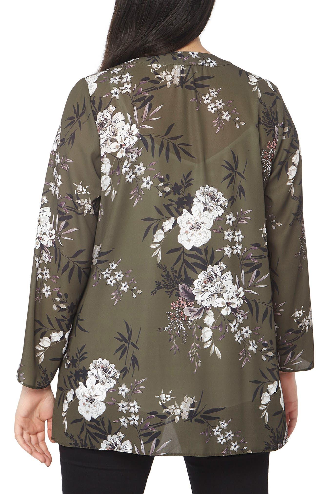 Floral Print Kimono,                             Alternate thumbnail 2, color,                             Dark Multi