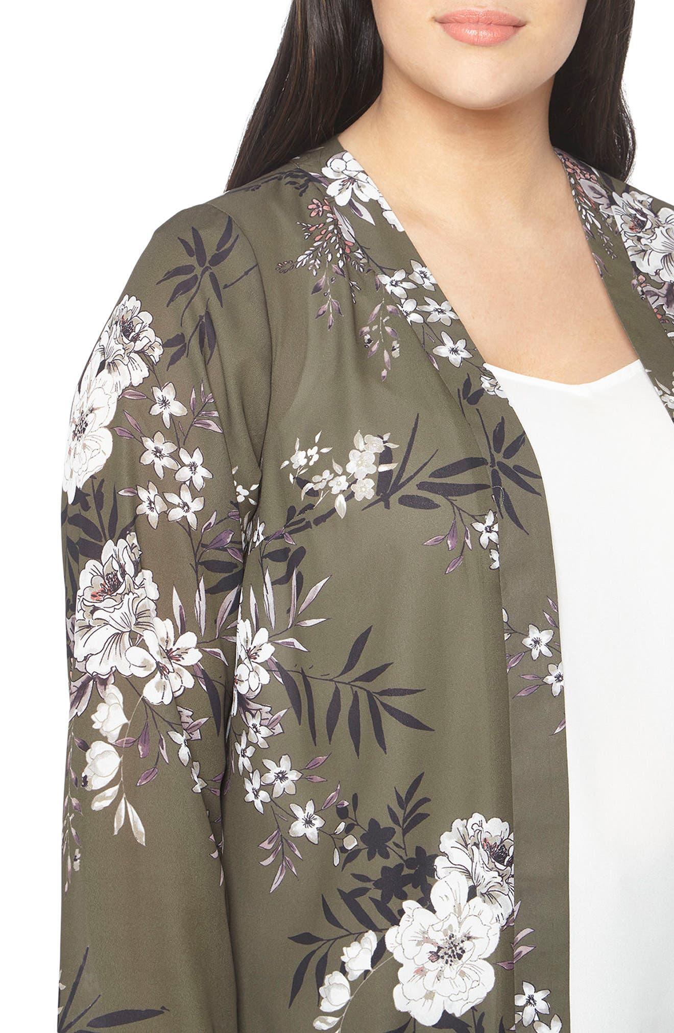 Floral Print Kimono,                             Alternate thumbnail 4, color,                             Dark Multi