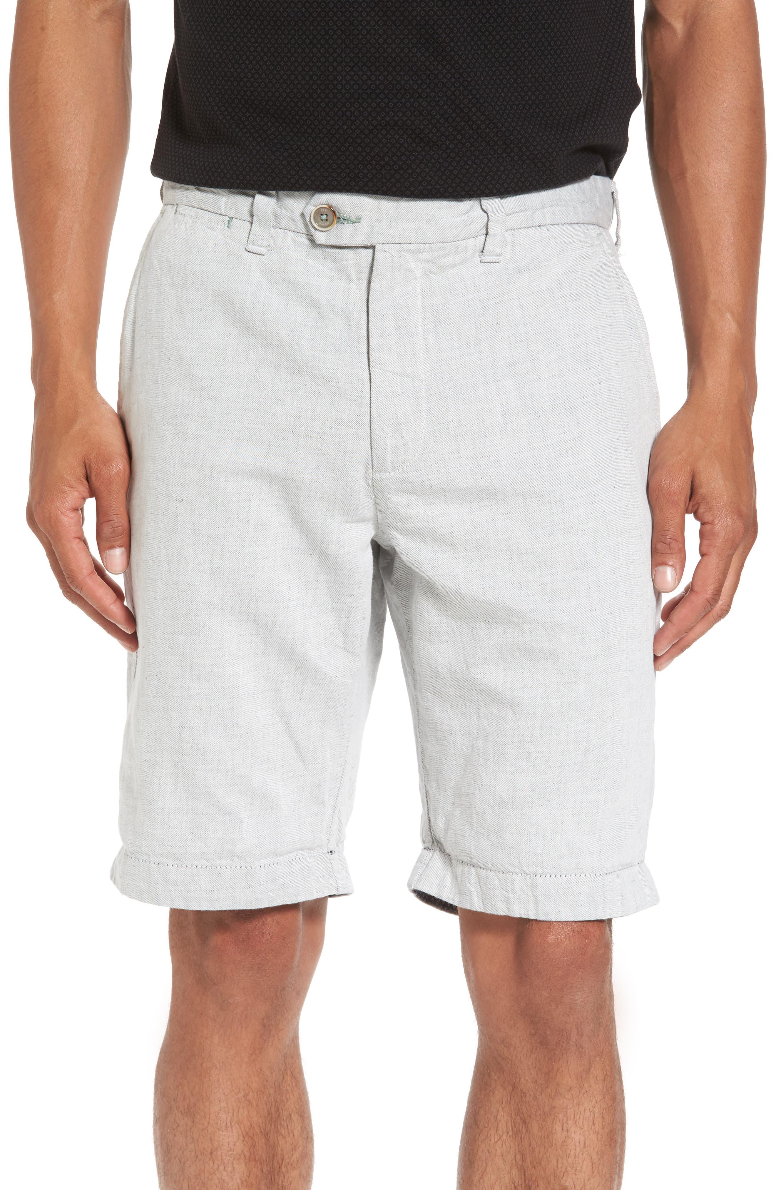 Frisho Cuff Denim Shorts,                         Main,                         color, Light Grey