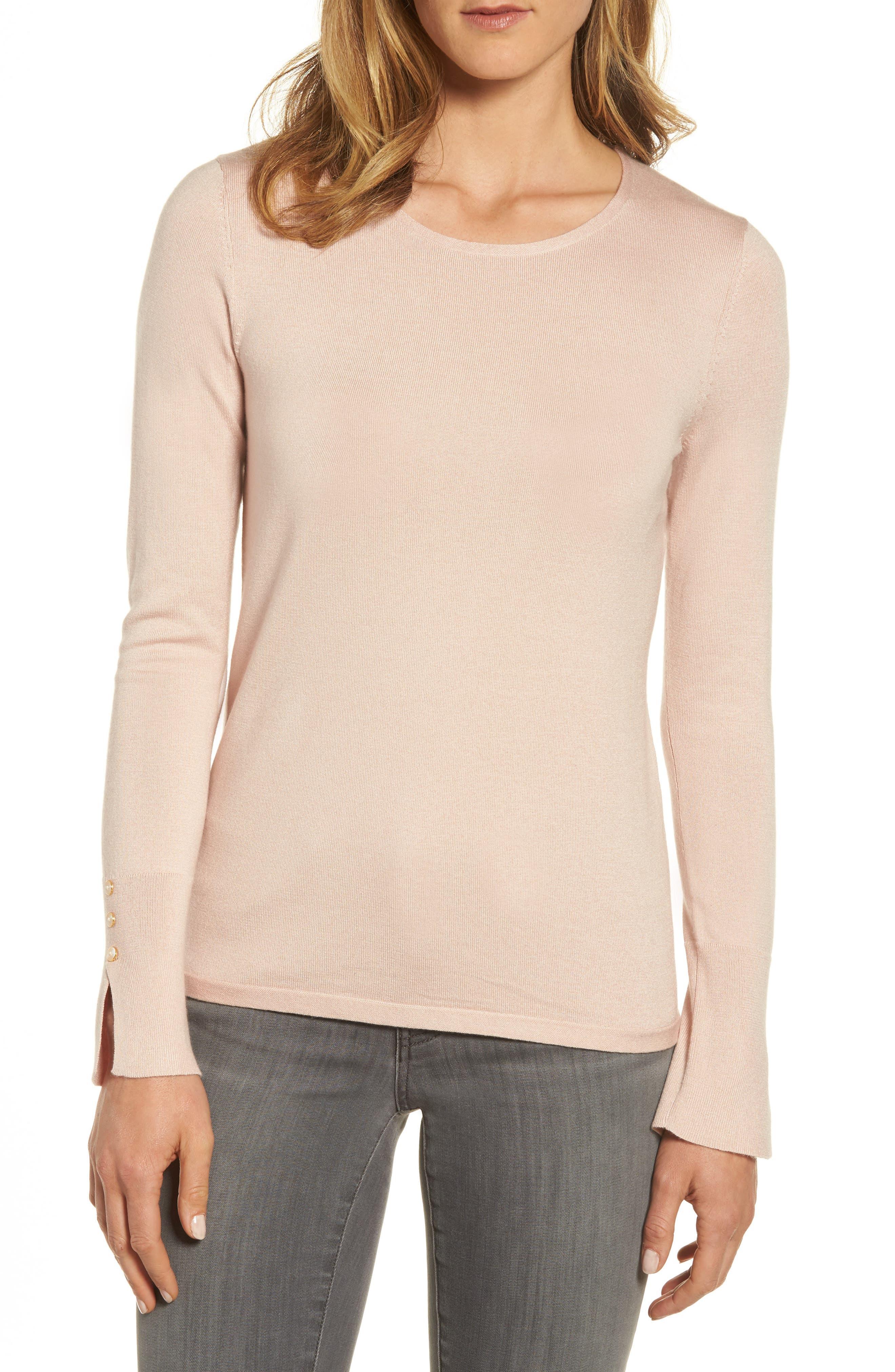 Emerson Rose Cuff Detail Silk Blend Crewneck Sweater