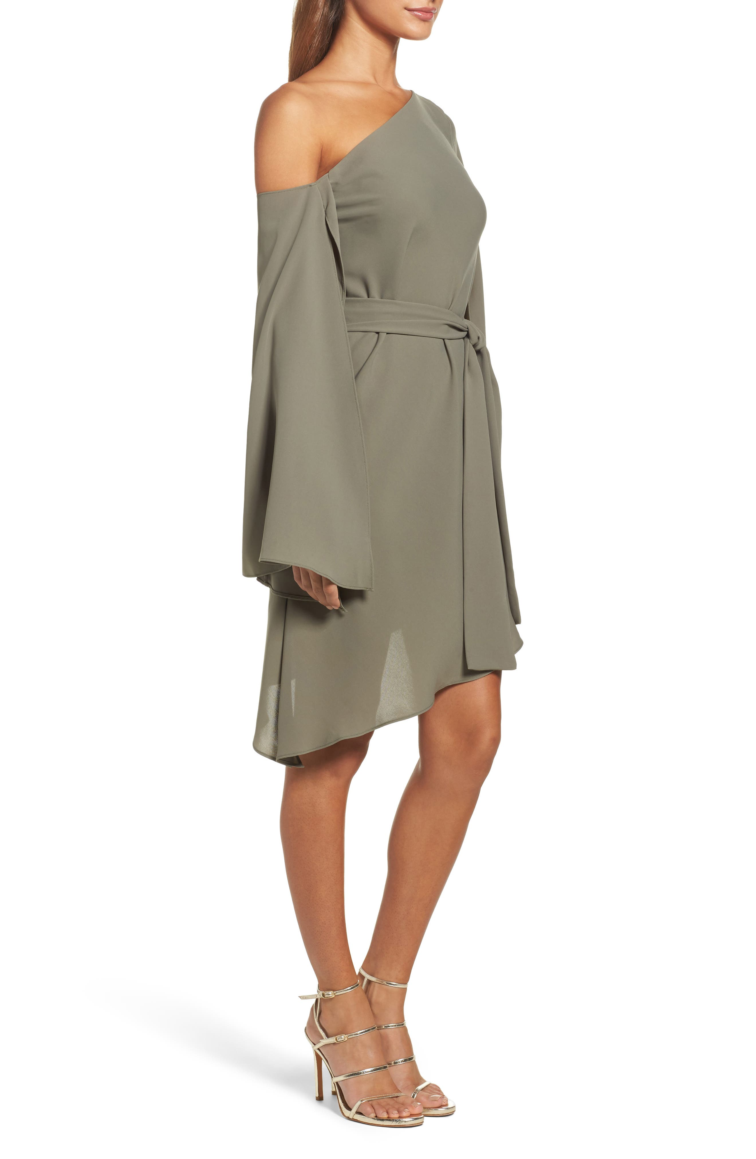 Beyond Me One-Shoulder Dress,                             Alternate thumbnail 4, color,                             Khaki