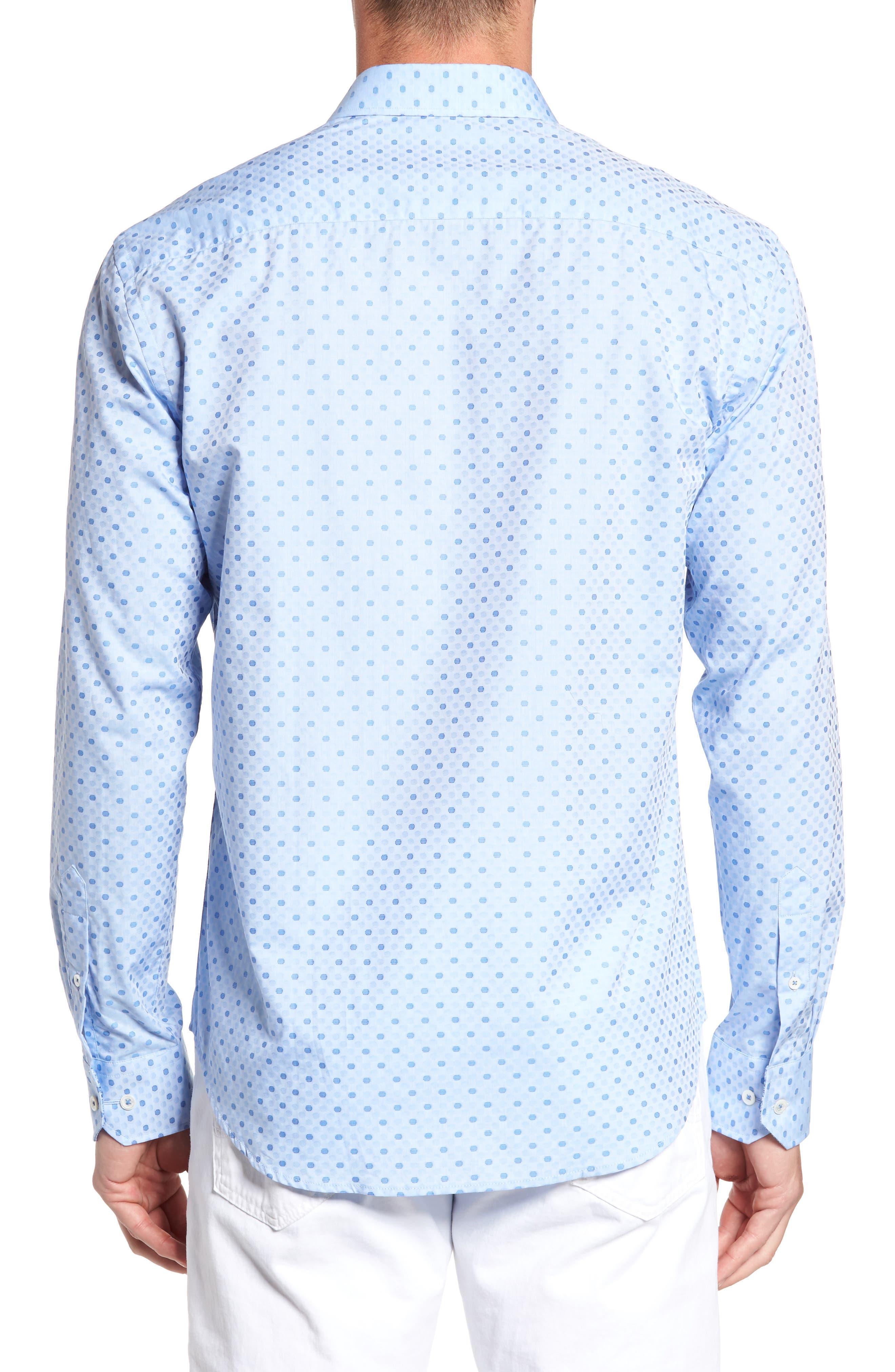 Shaped Fit Dot Sport Shirt,                             Alternate thumbnail 3, color,                             Sky