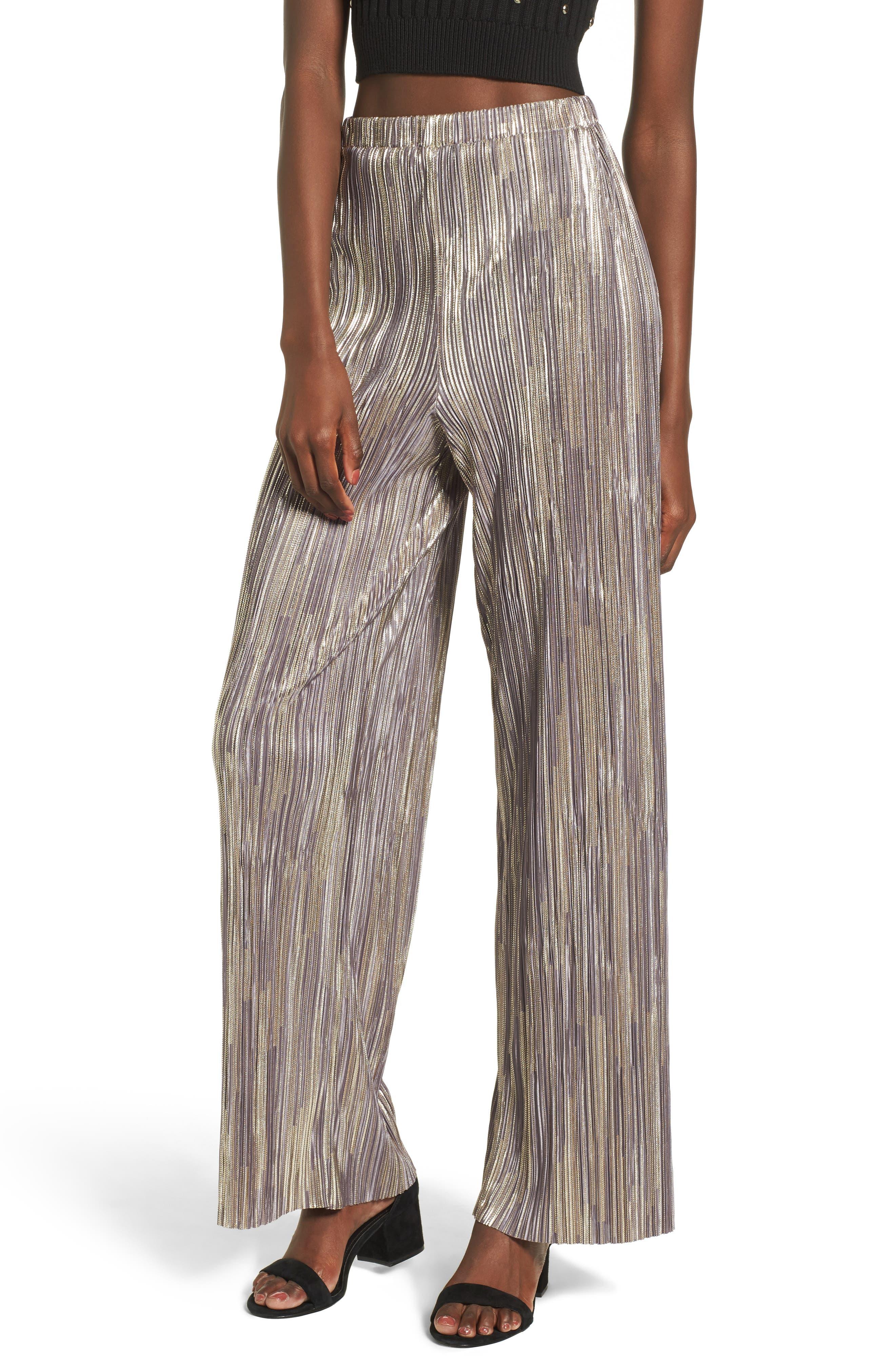 Leith Metallic Pleat Pants