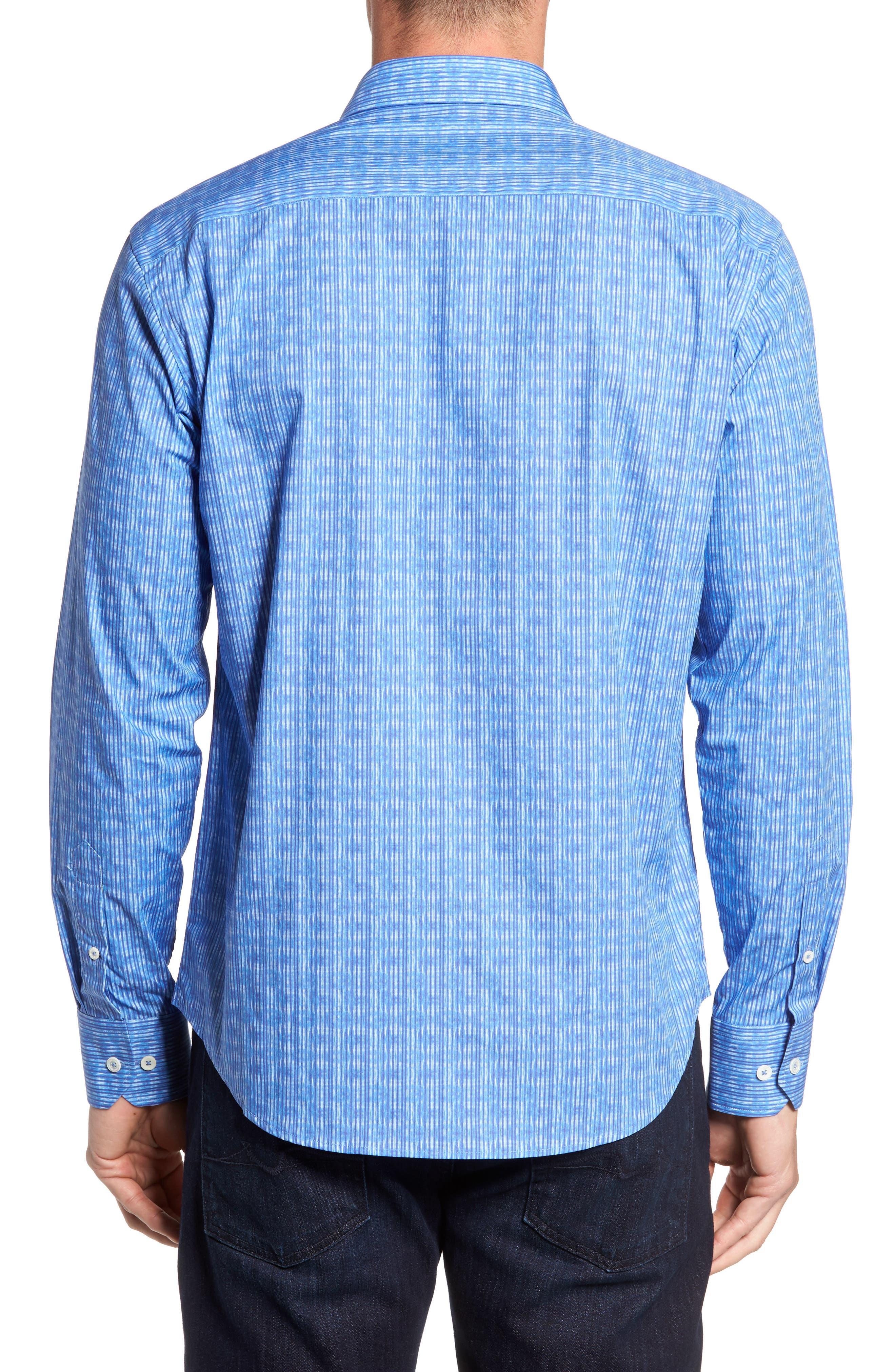 Shaped Fit Stripe Sport Shirt,                             Alternate thumbnail 2, color,                             Classic Blue