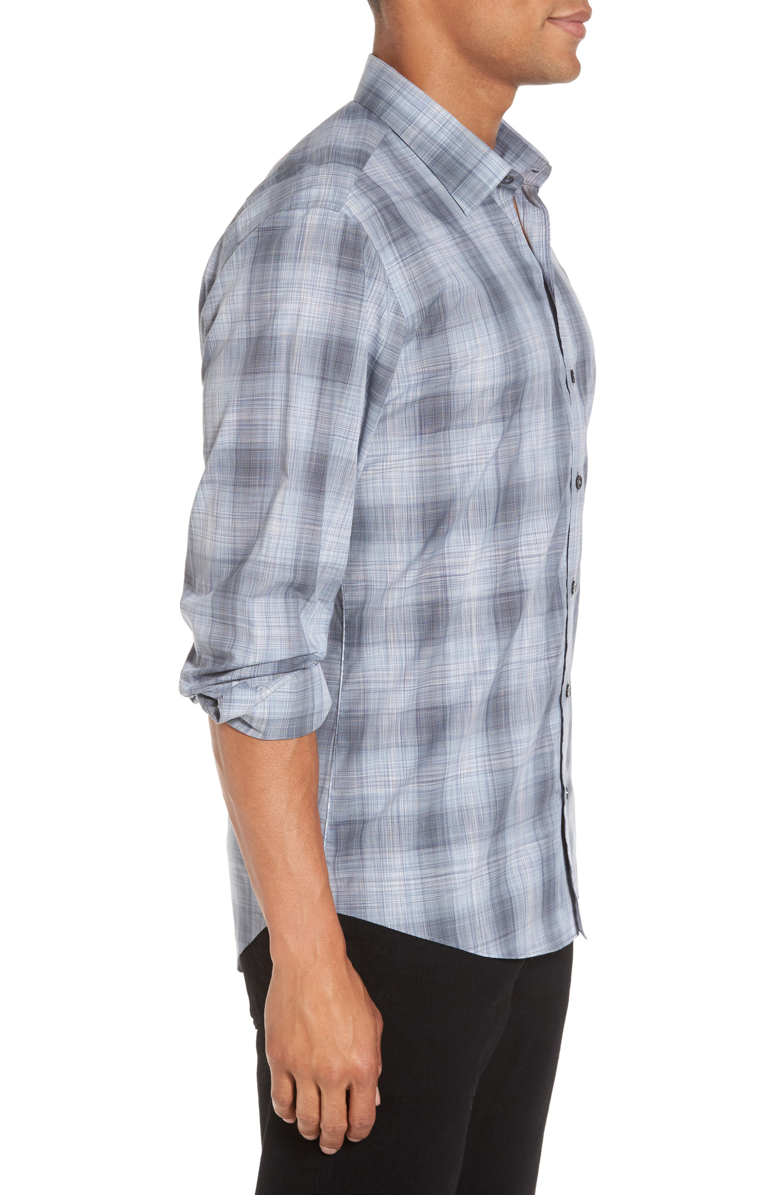 Perrygold Slim Fit Check Sport Shirt,                             Alternate thumbnail 3, color,                             Grey