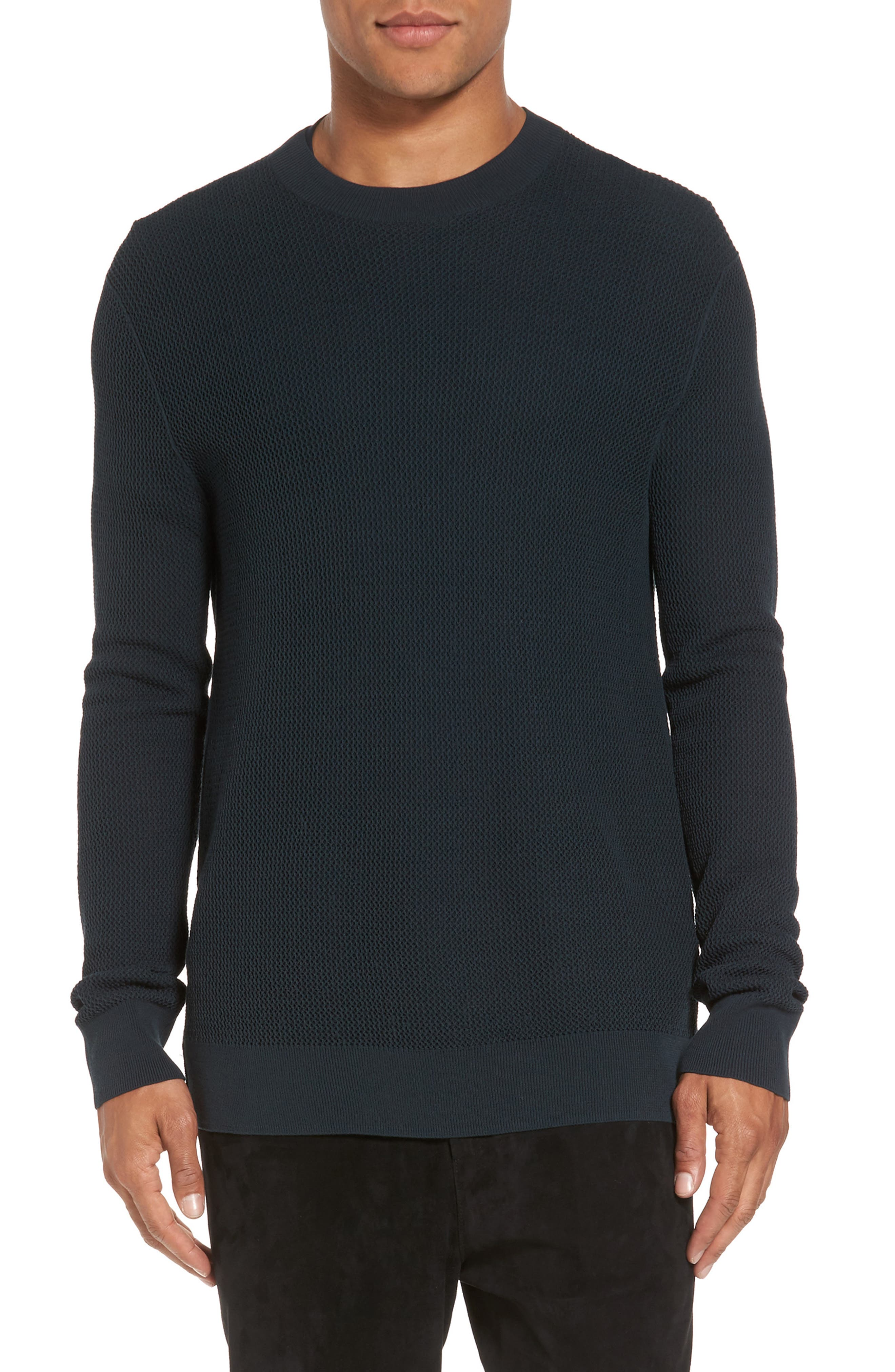 Mesh Crewneck Sweater,                         Main,                         color, Midnight Forest