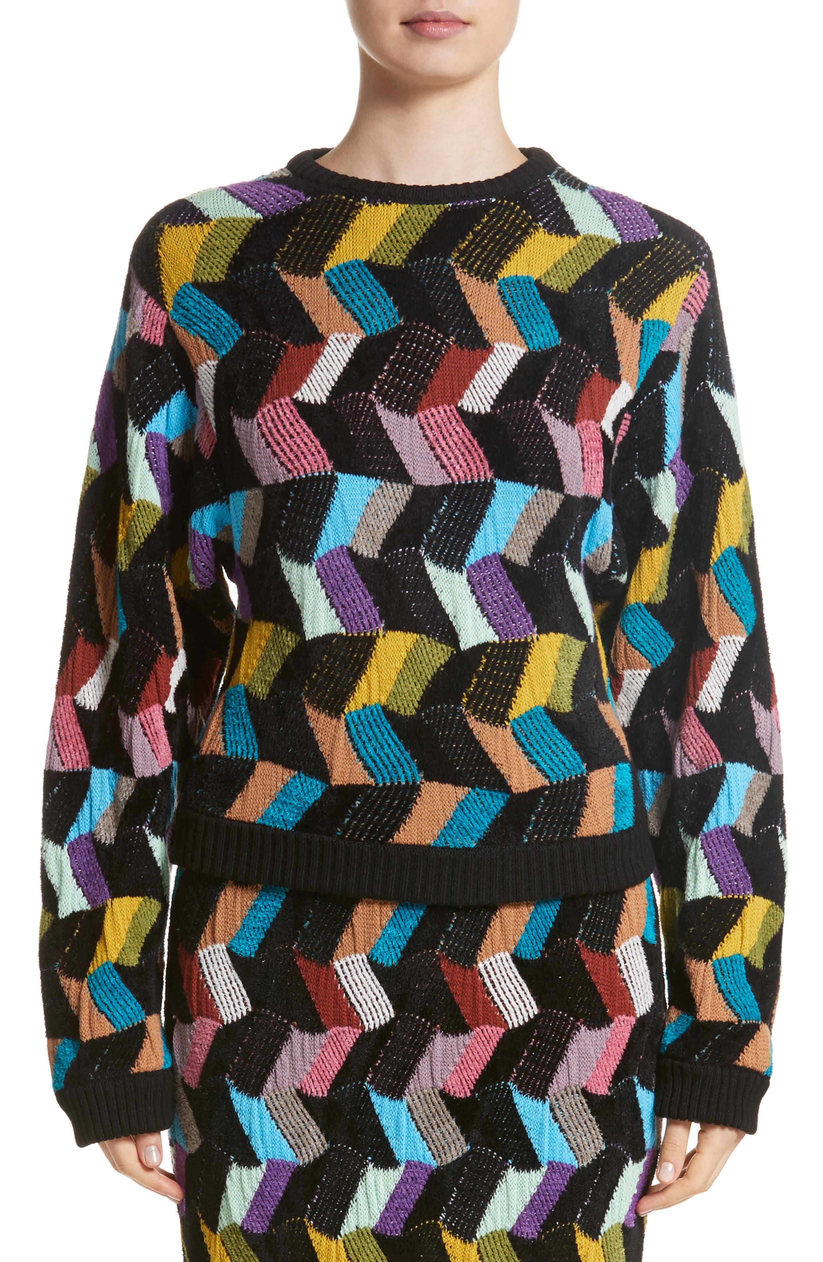 Jacquard Sweater,                         Main,                         color, Black