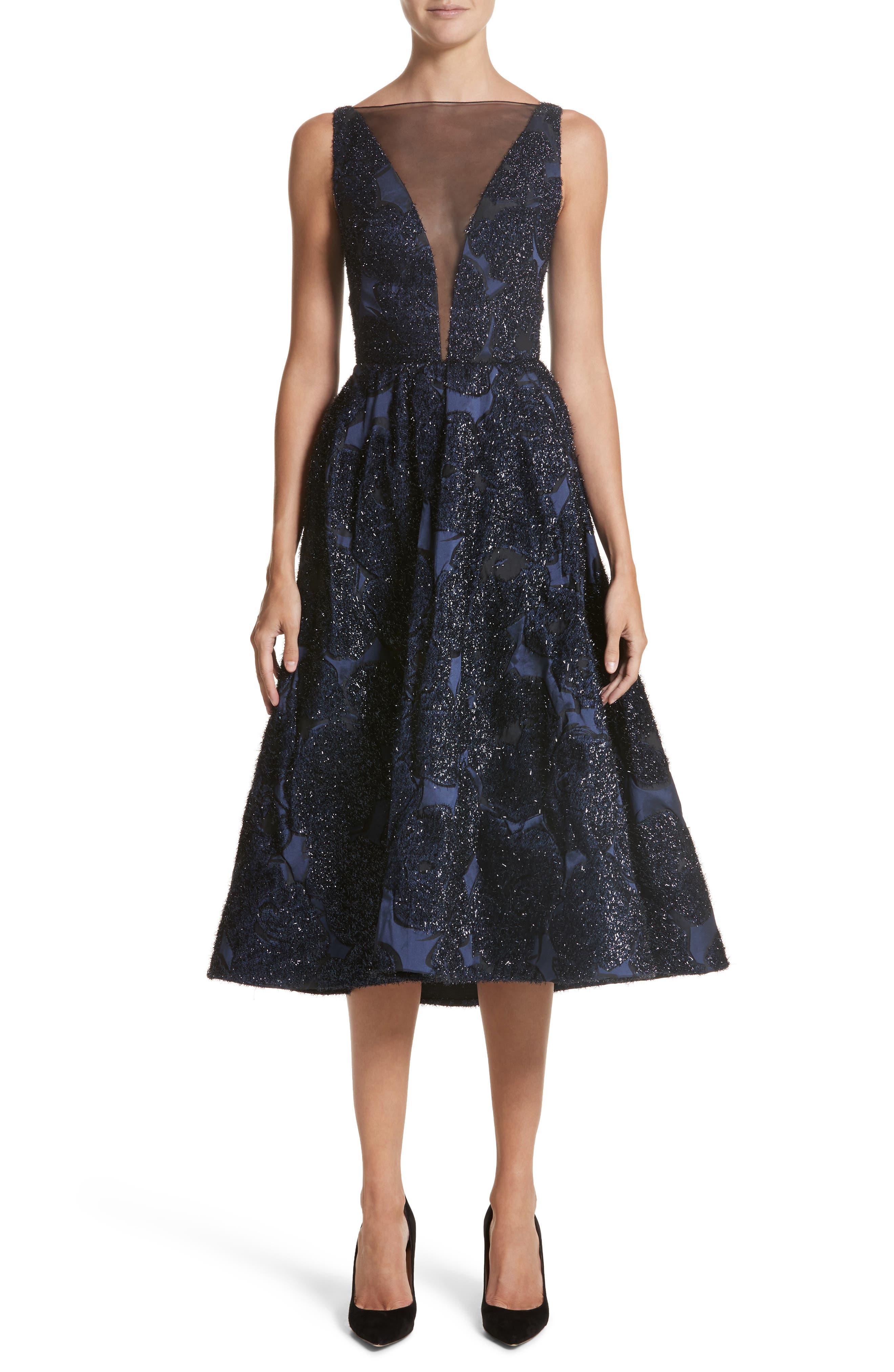 Lela Rose Metallic Jacquard Fit & Flare Dress