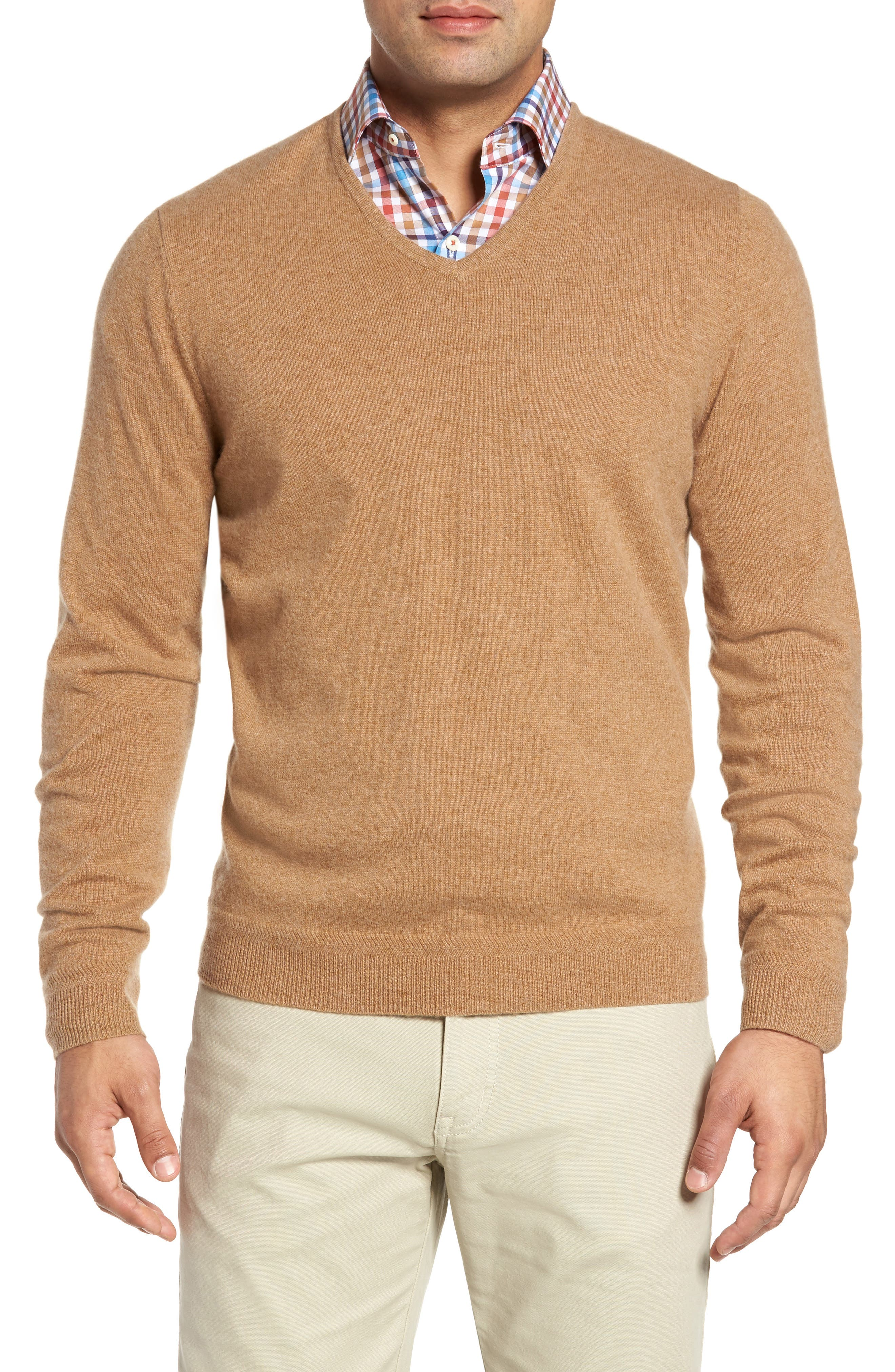 John W. Nordstrom Cashmere V-Neck Sweater,                             Main thumbnail 1, color,                             Brown Bear