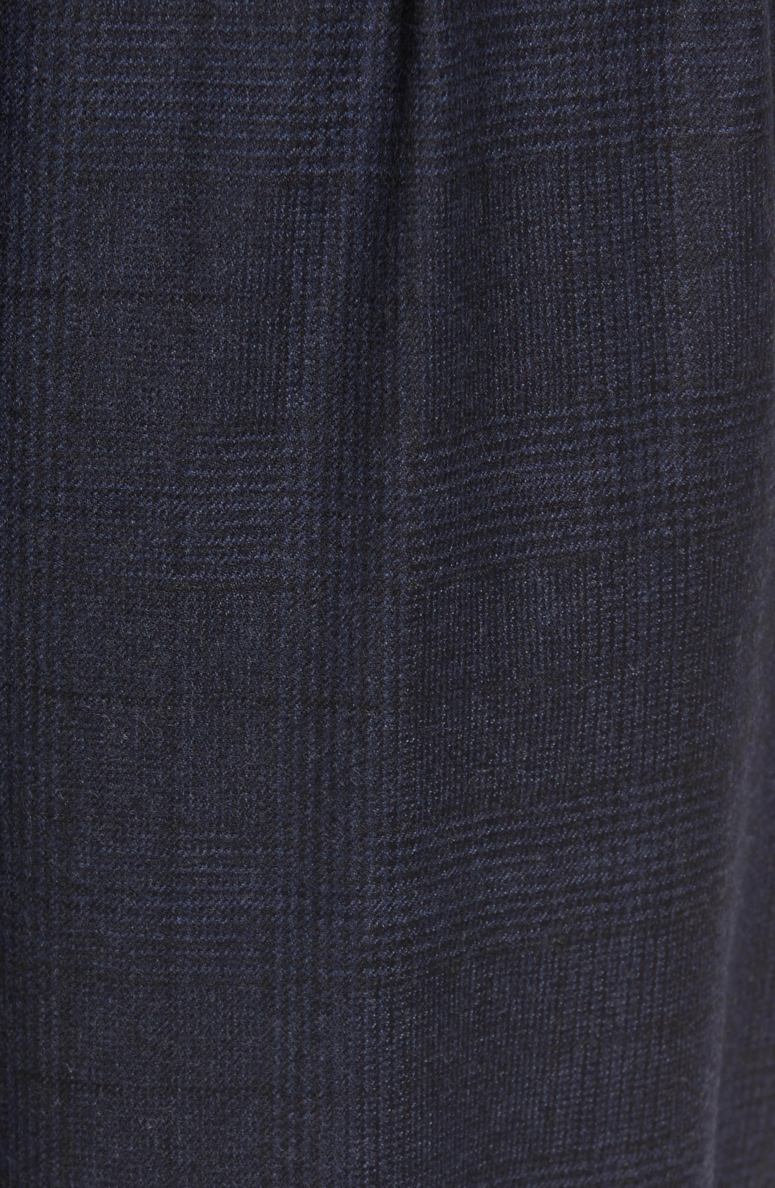 Glen Plaid Pleat Front Wool Pants,                             Alternate thumbnail 5, color,                             Navy