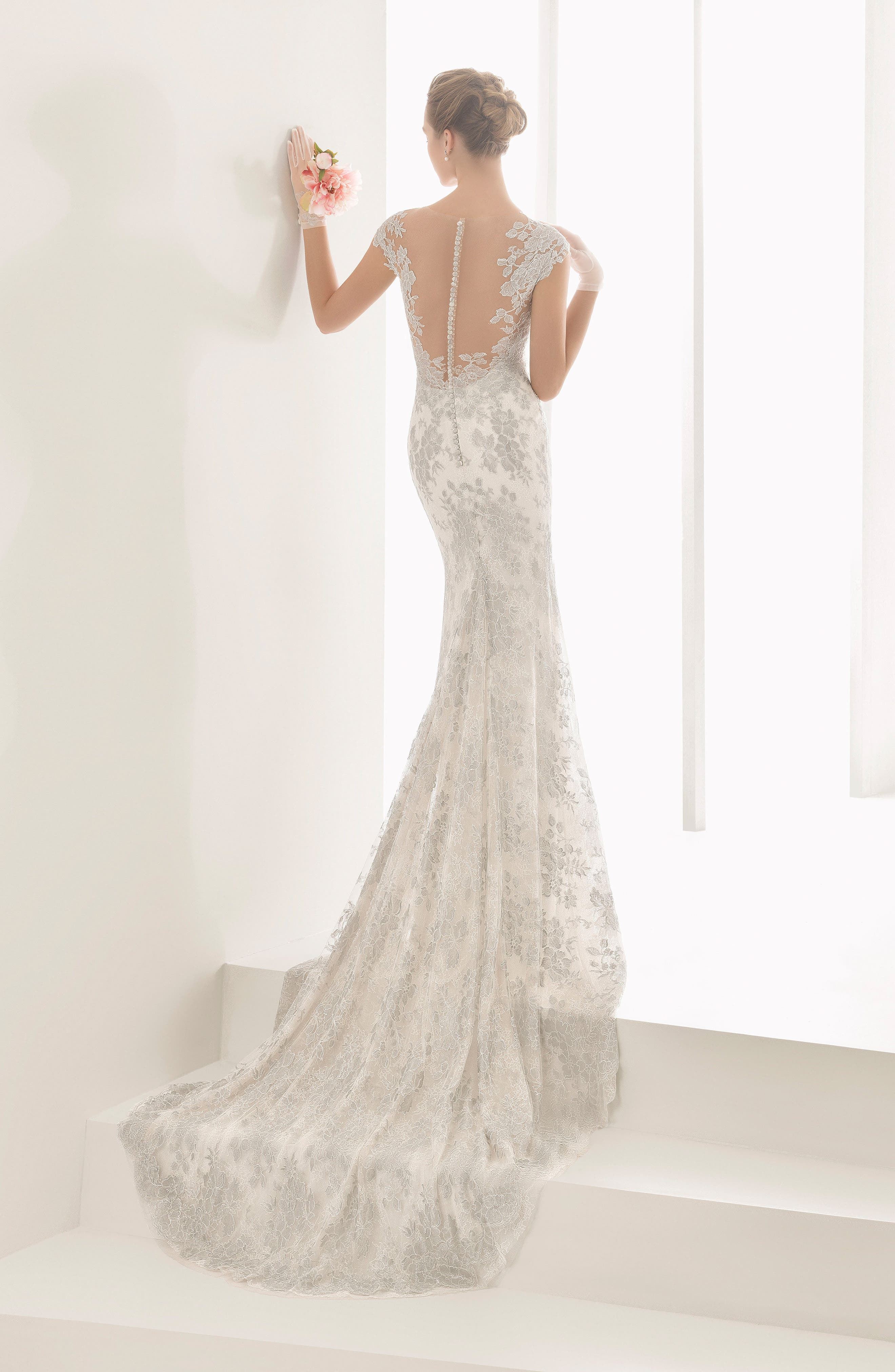 Alternate Image 2  - Rosa Clara Couture Naia Silver Chantilly Lace Mermaid Gown