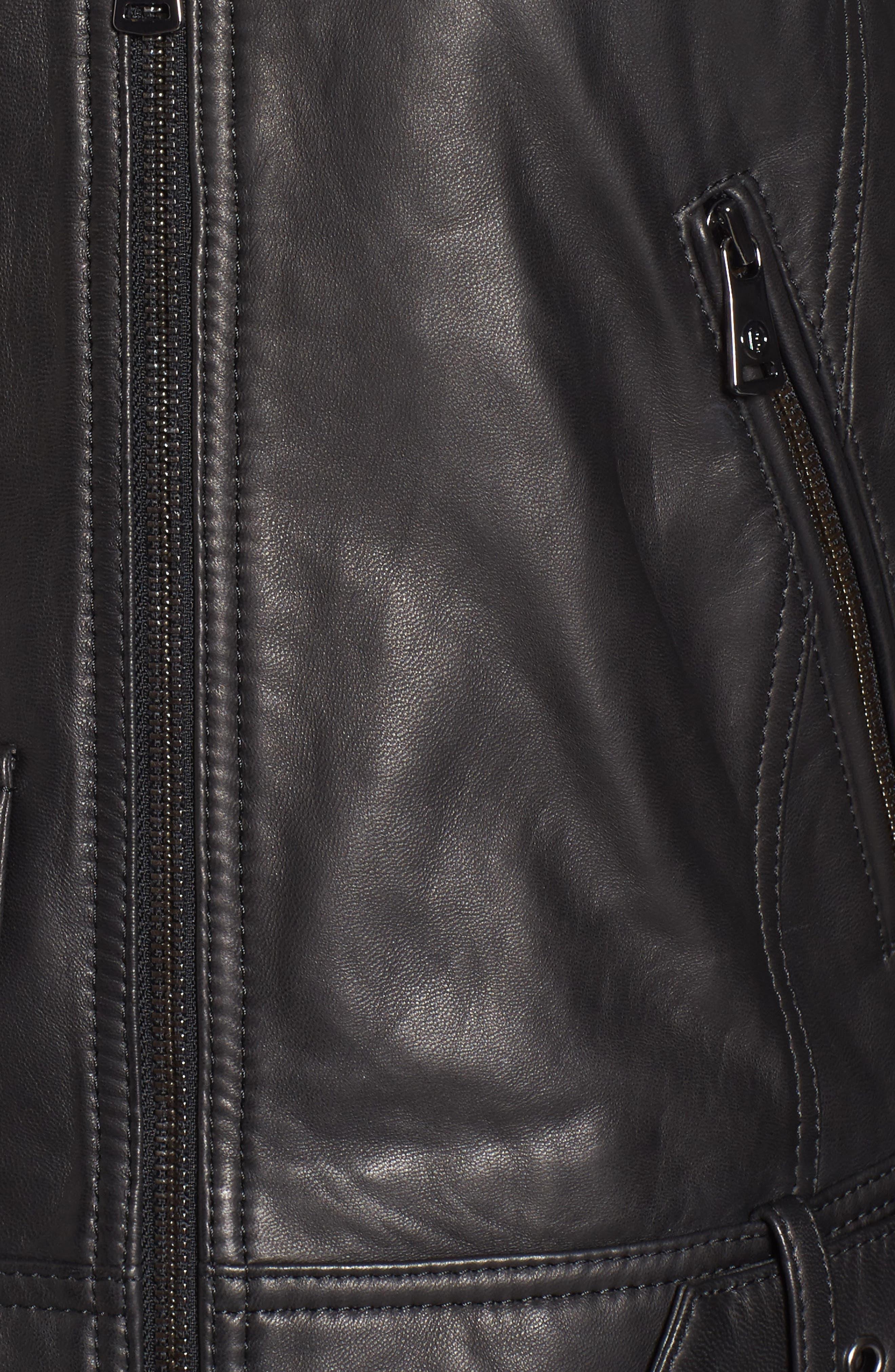 Front Zip Leather Moto Jacket,                             Alternate thumbnail 6, color,                             Black