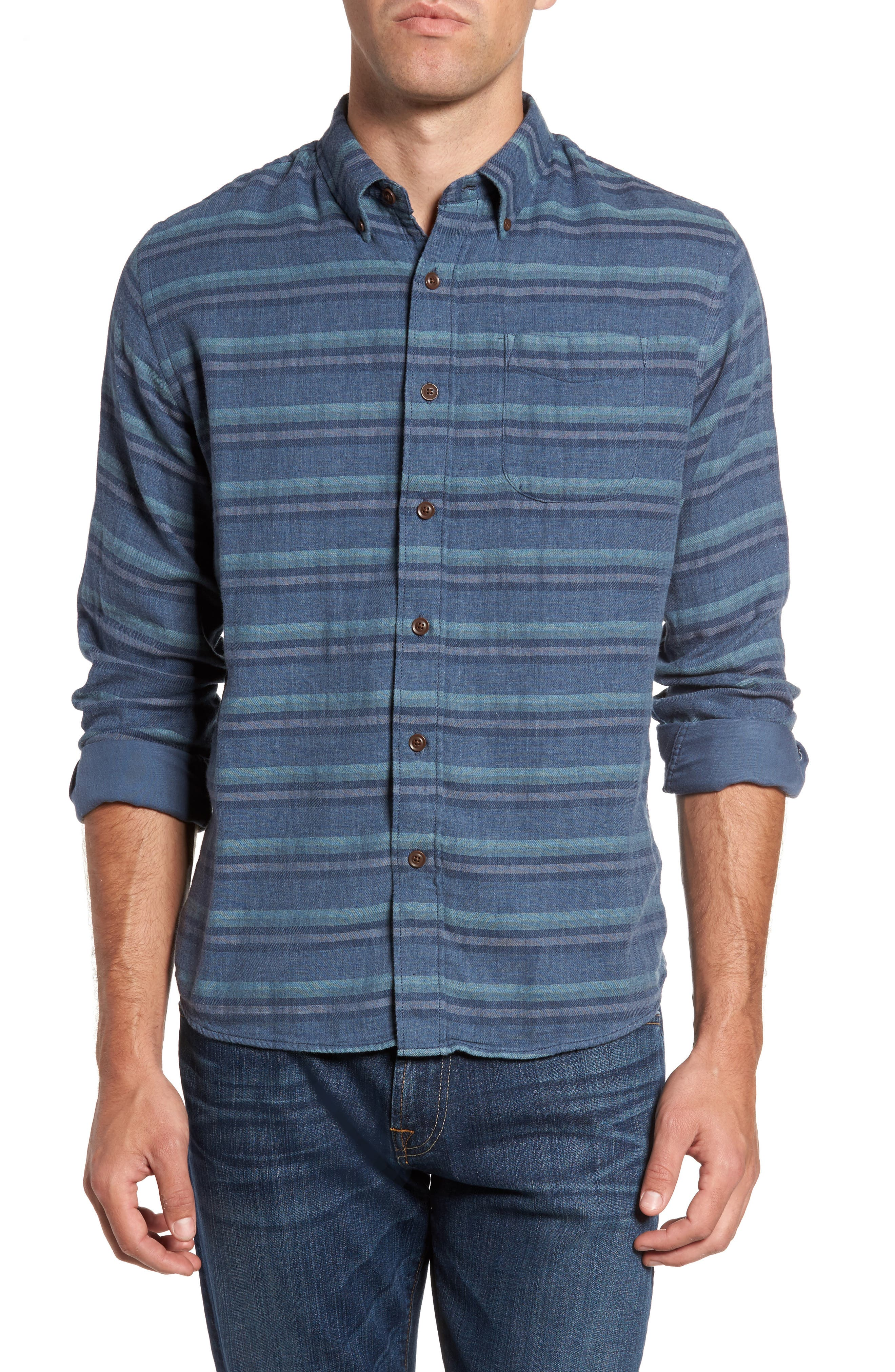 Harcourt Modern Fit Double Cloth Striped Sport Shirt,                         Main,                         color, Navy Heather Blue