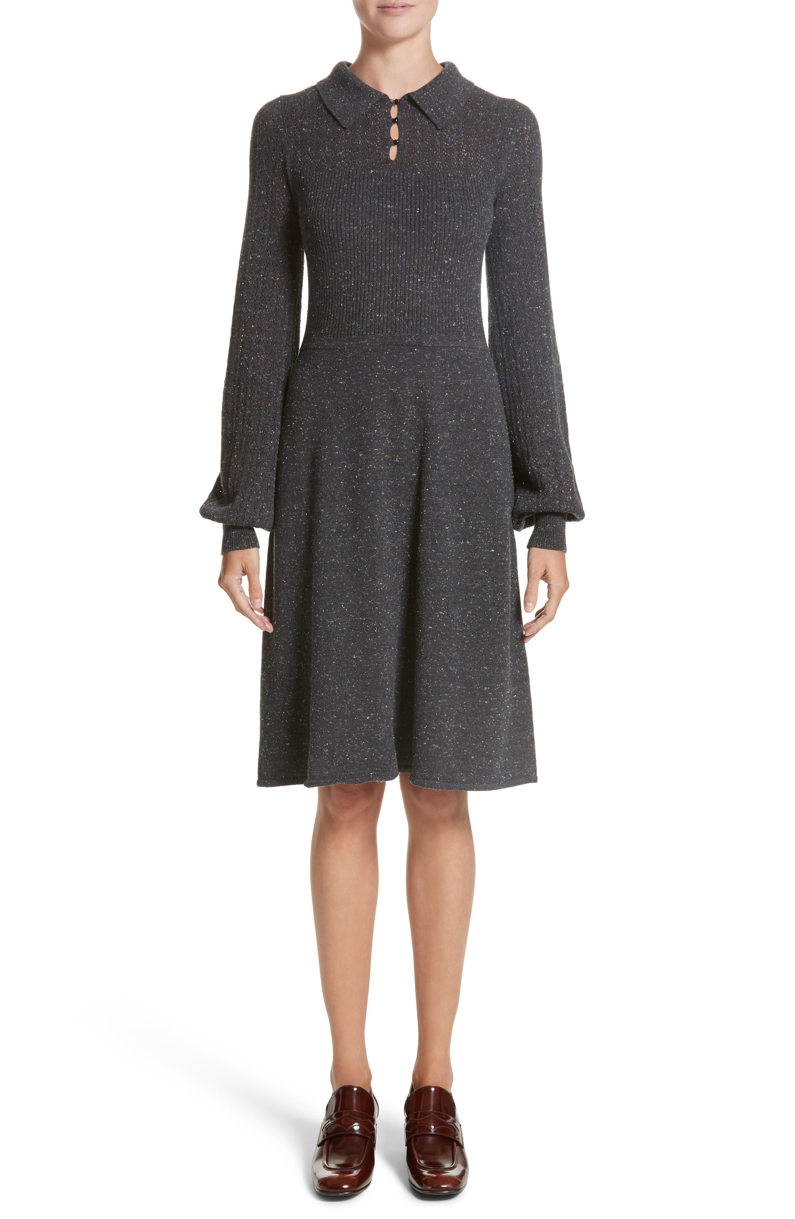 Knit Sweater Dress,                             Main thumbnail 1, color,                             Dark Grey