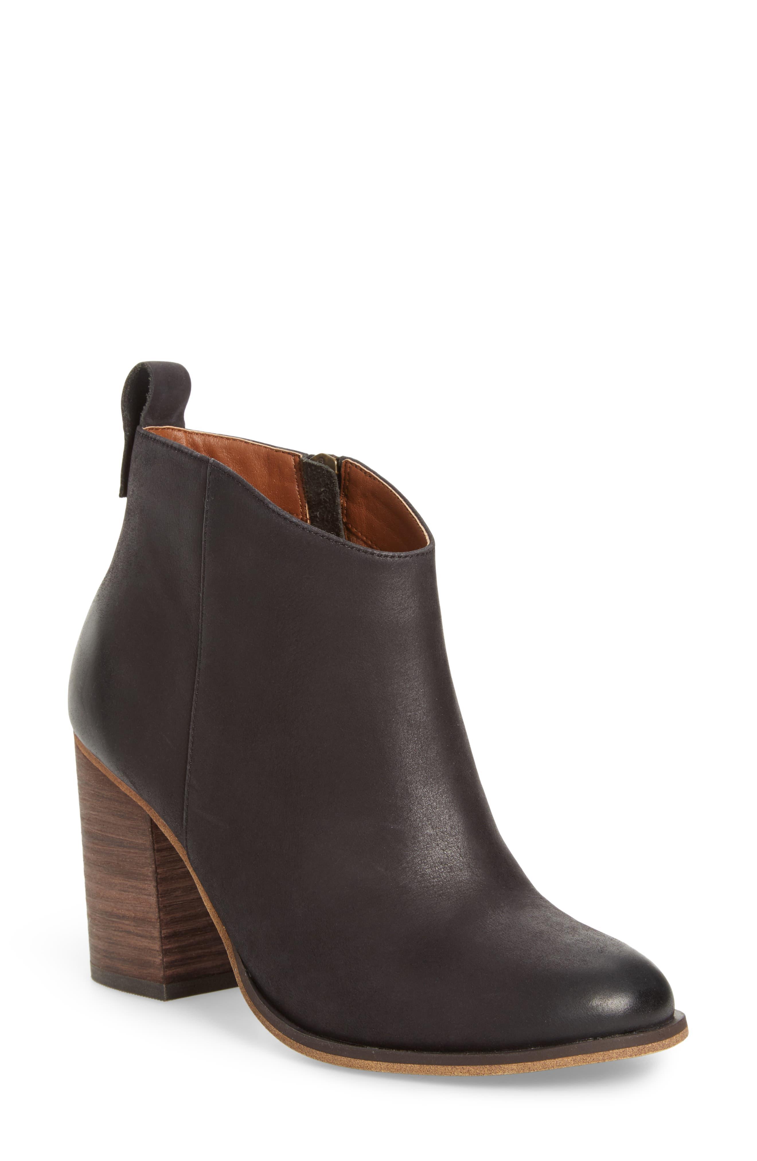 Lance Block Heel Bootie,                         Main,                         color, Black Burnished Leather