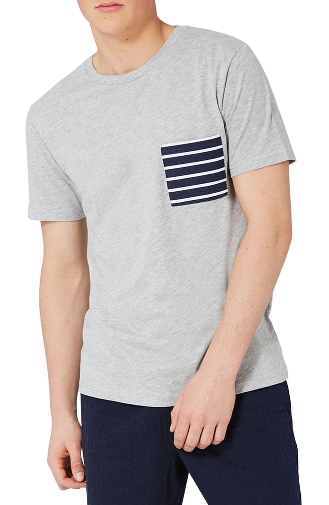 Alternate Image 1 Selected - Topman Stripe Pocket T-Shirt
