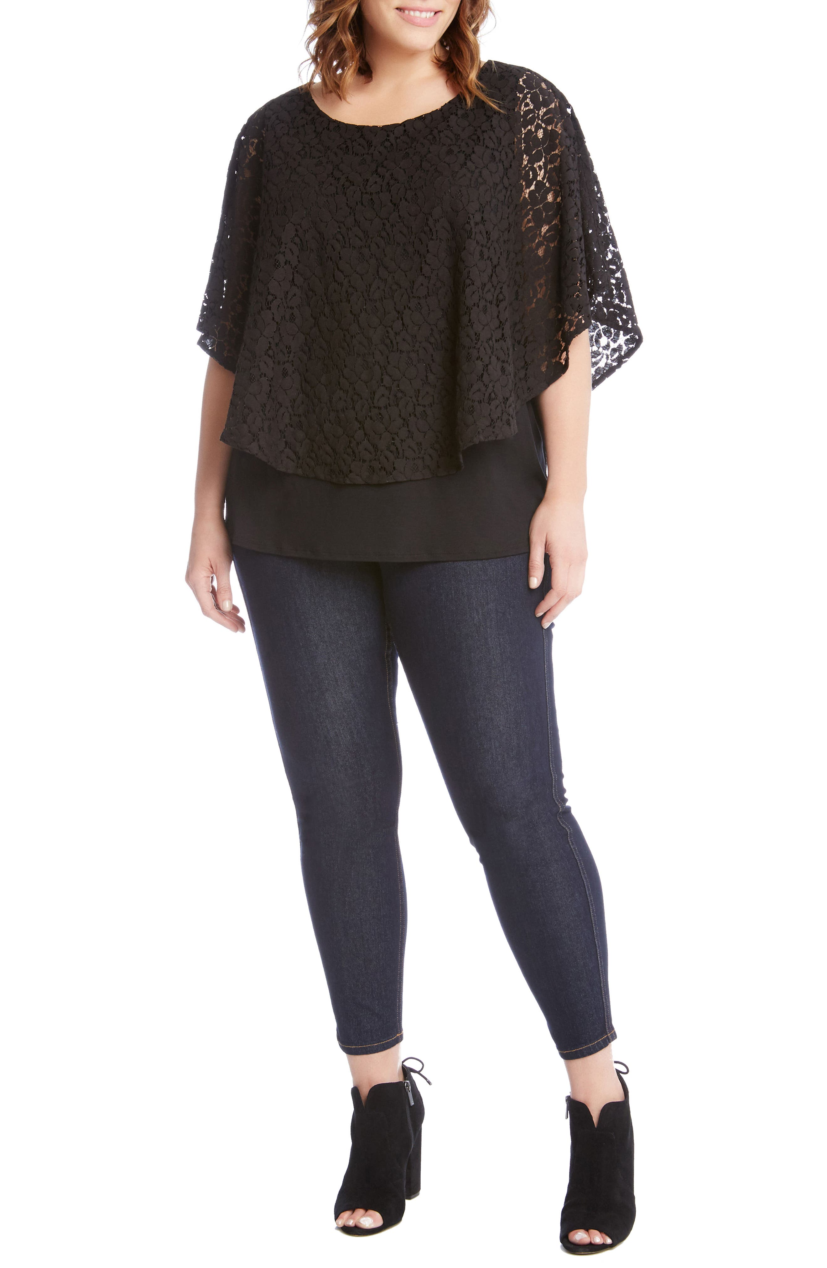 Lace Overlay Top,                             Alternate thumbnail 3, color,                             Black