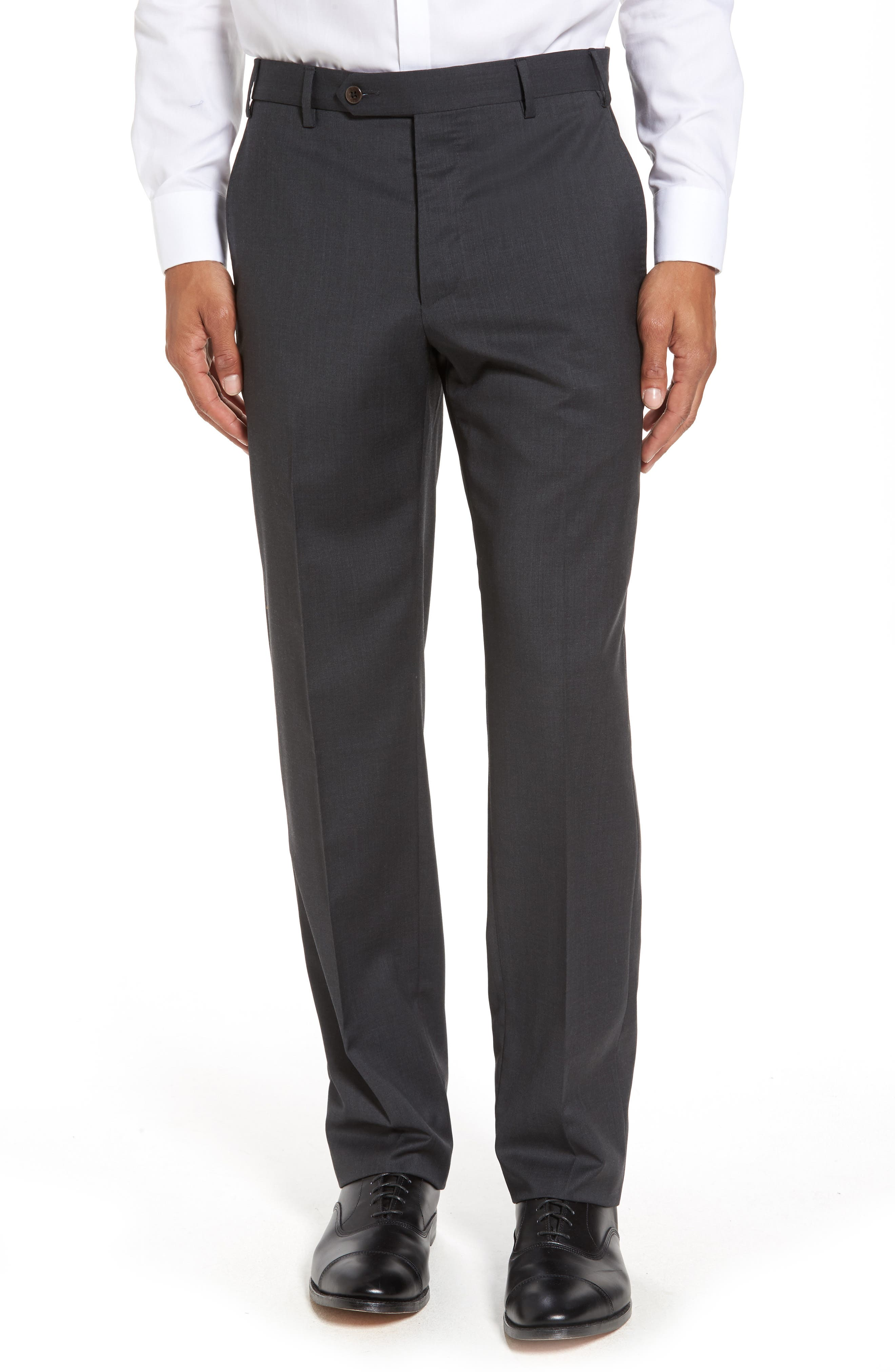 ZANELLA Devon Flat Front Solid Wool Trousers