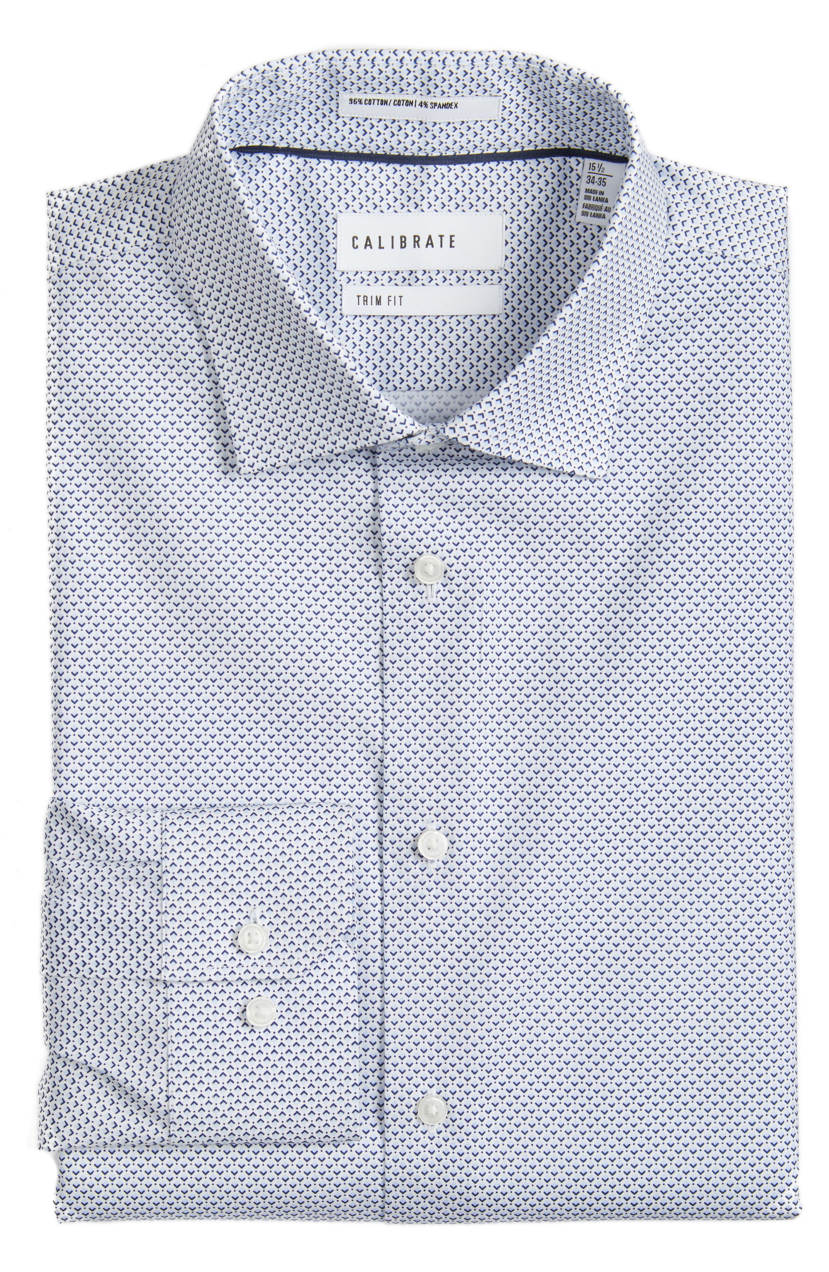 CALIBRATE Trim Fit Stretch Geometric Dress Shirt