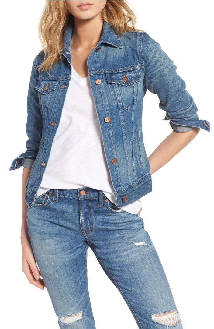 Madewell jean jacket pinter wash nordstrom for Blue denim shirt for womens