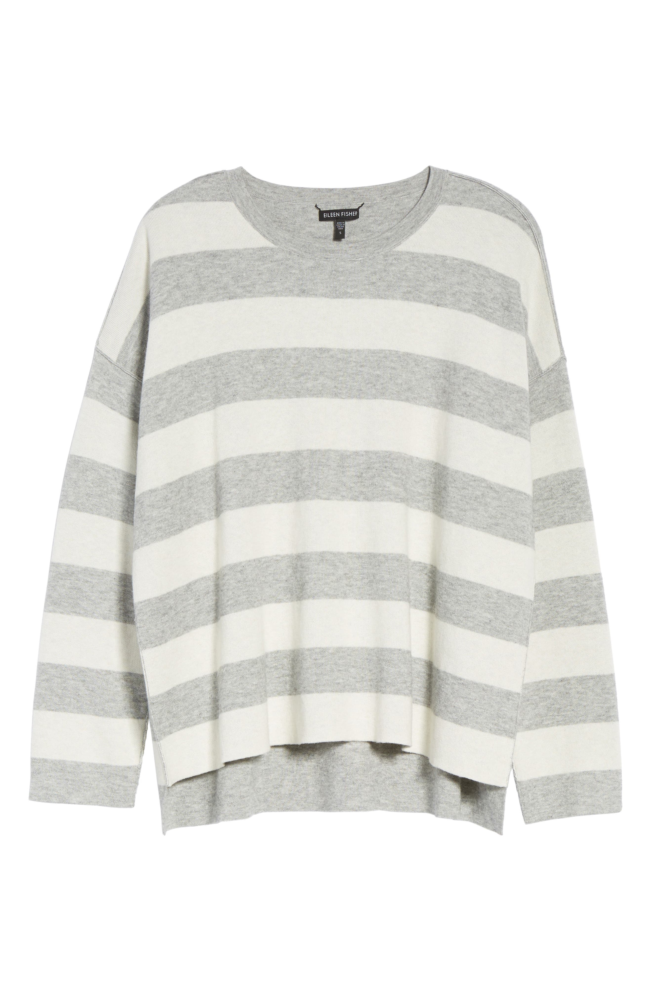 Stripe Organic Cotton Blend Top,                             Alternate thumbnail 6, color,                             Dark Pearl/ Soft White