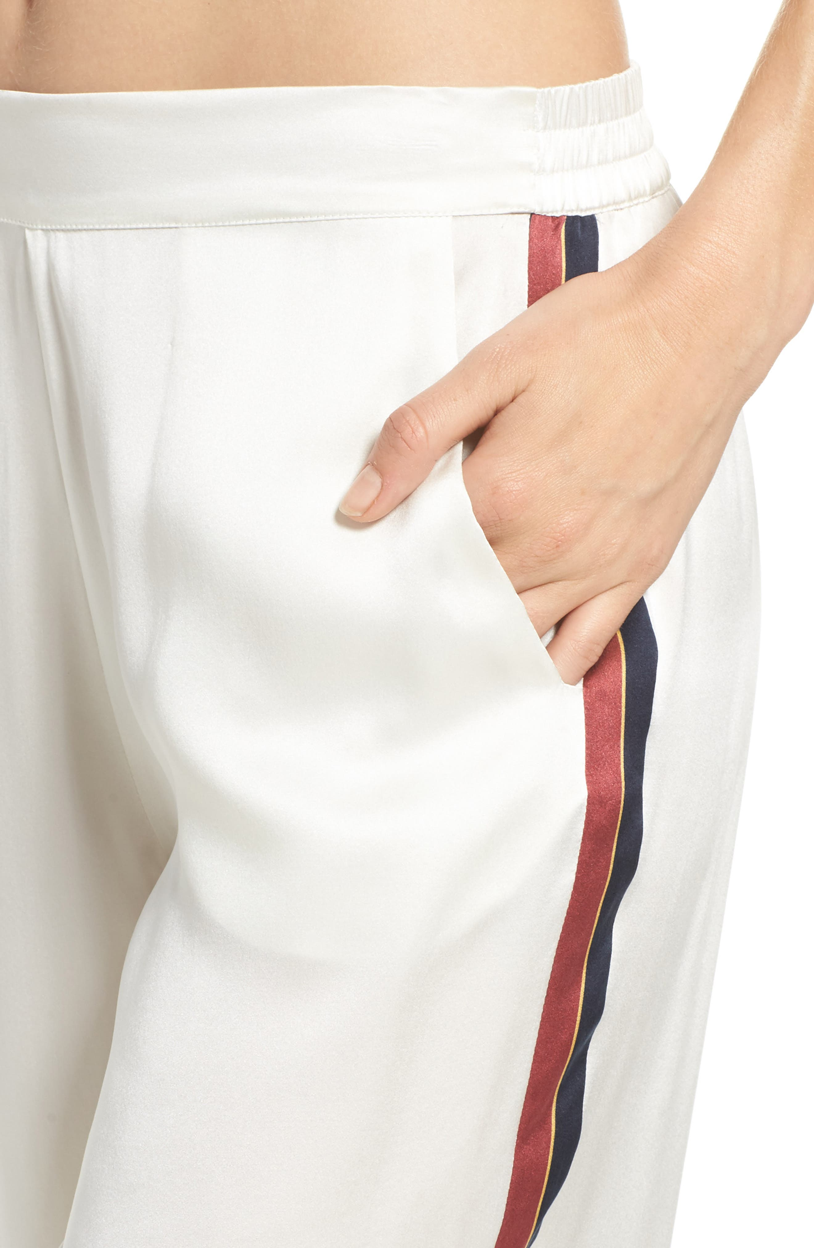 Alternate Image 6  - Asceno by Beautiful Bottoms Side Stripe Silk Pajama Pants