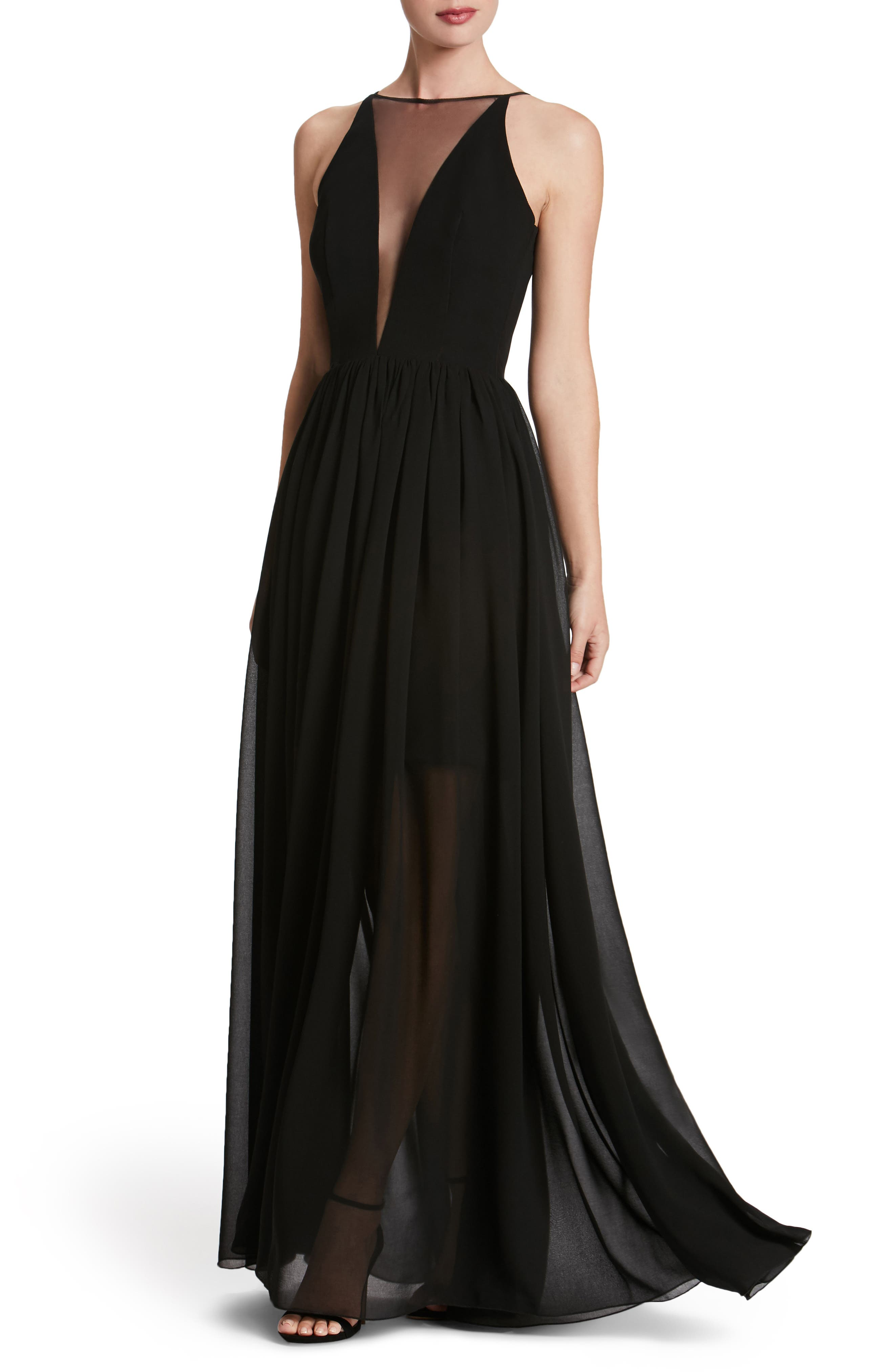 Patricia Illusion Gown,                             Main thumbnail 1, color,                             Black