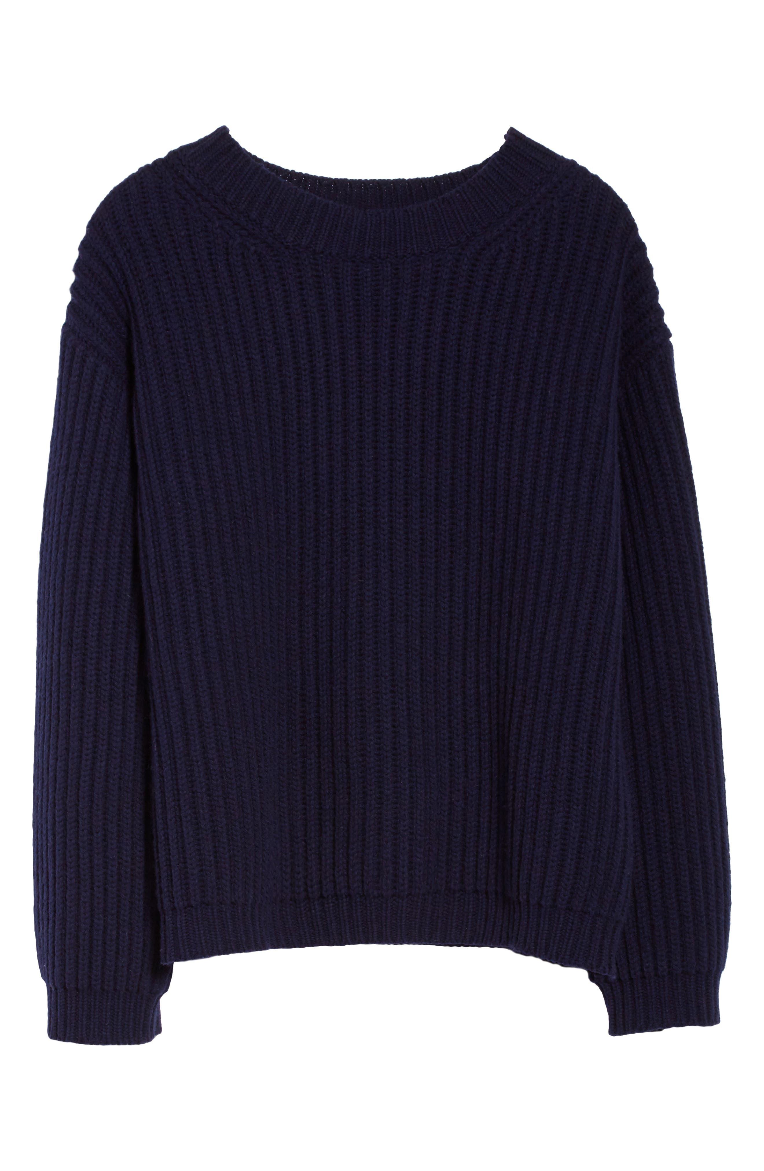 Crop Wool Sweater,                             Alternate thumbnail 4, color,                             Navy