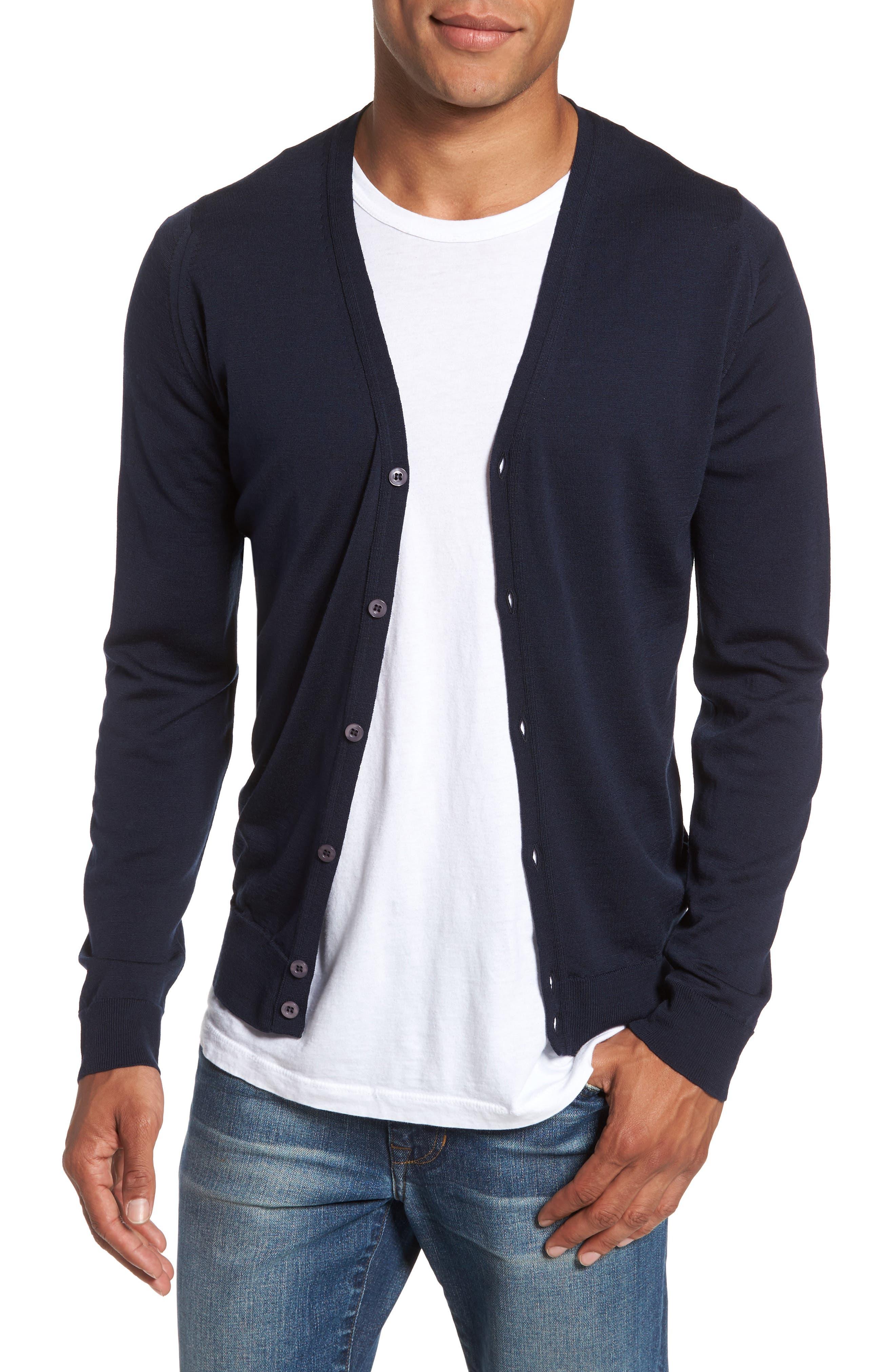Standard Fit Wool Cardigan,                         Main,                         color, Midnight
