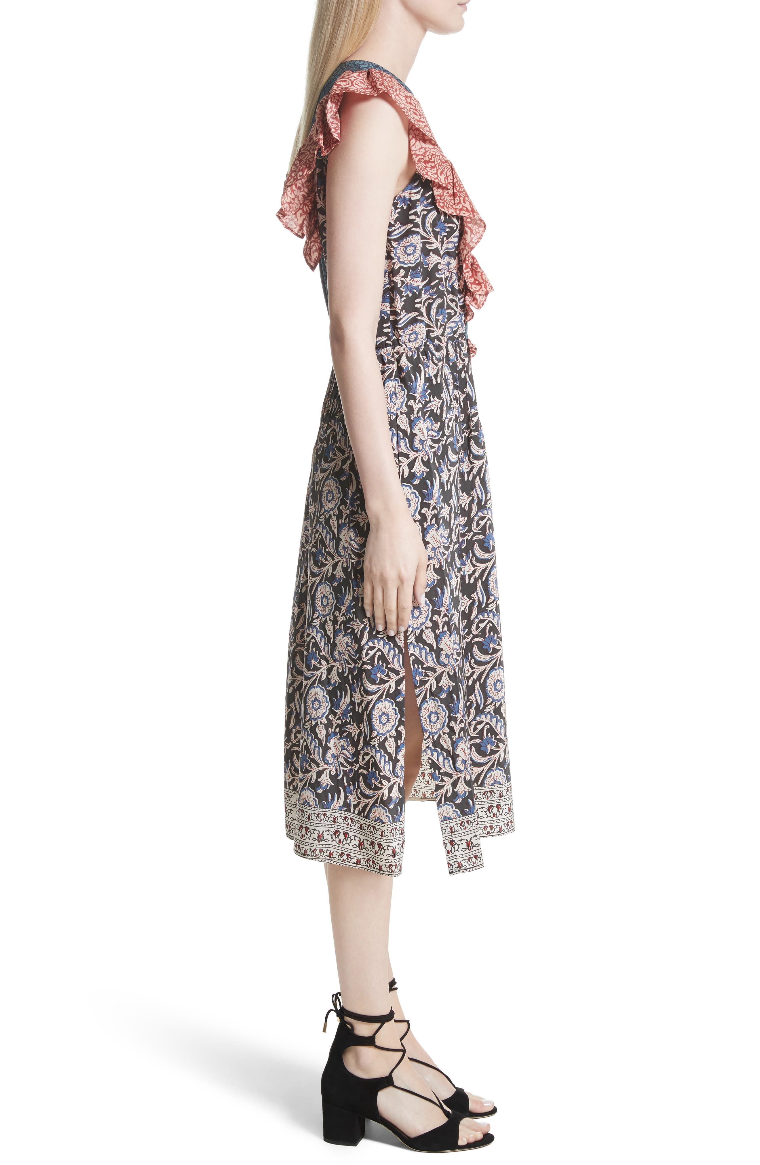 Alternate Image 3  - Sea Mixed Print Silk Flutter Dress