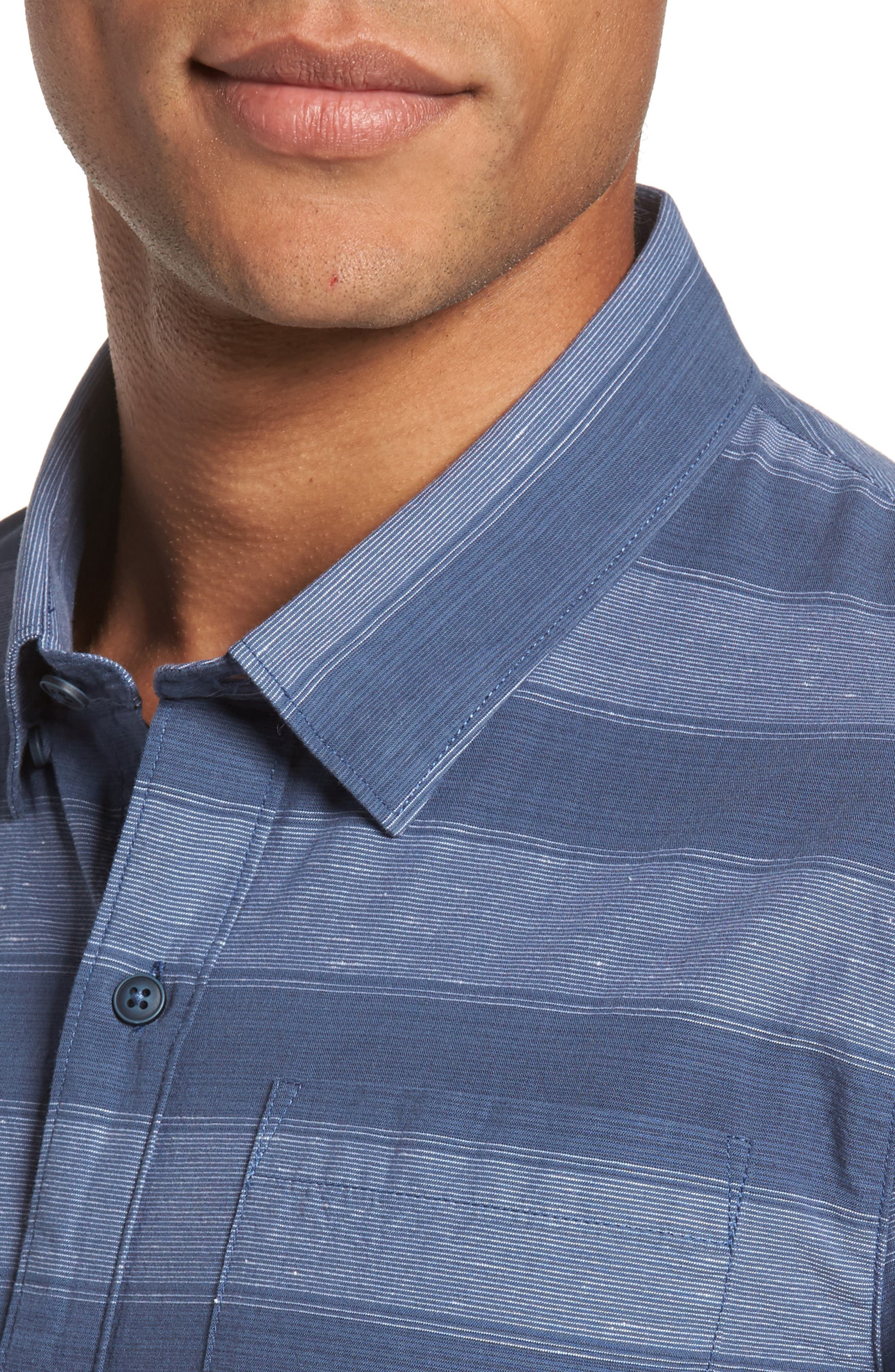 Kenneth Stripe Sport Shirt,                             Alternate thumbnail 4, color,                             Vintage Indigo