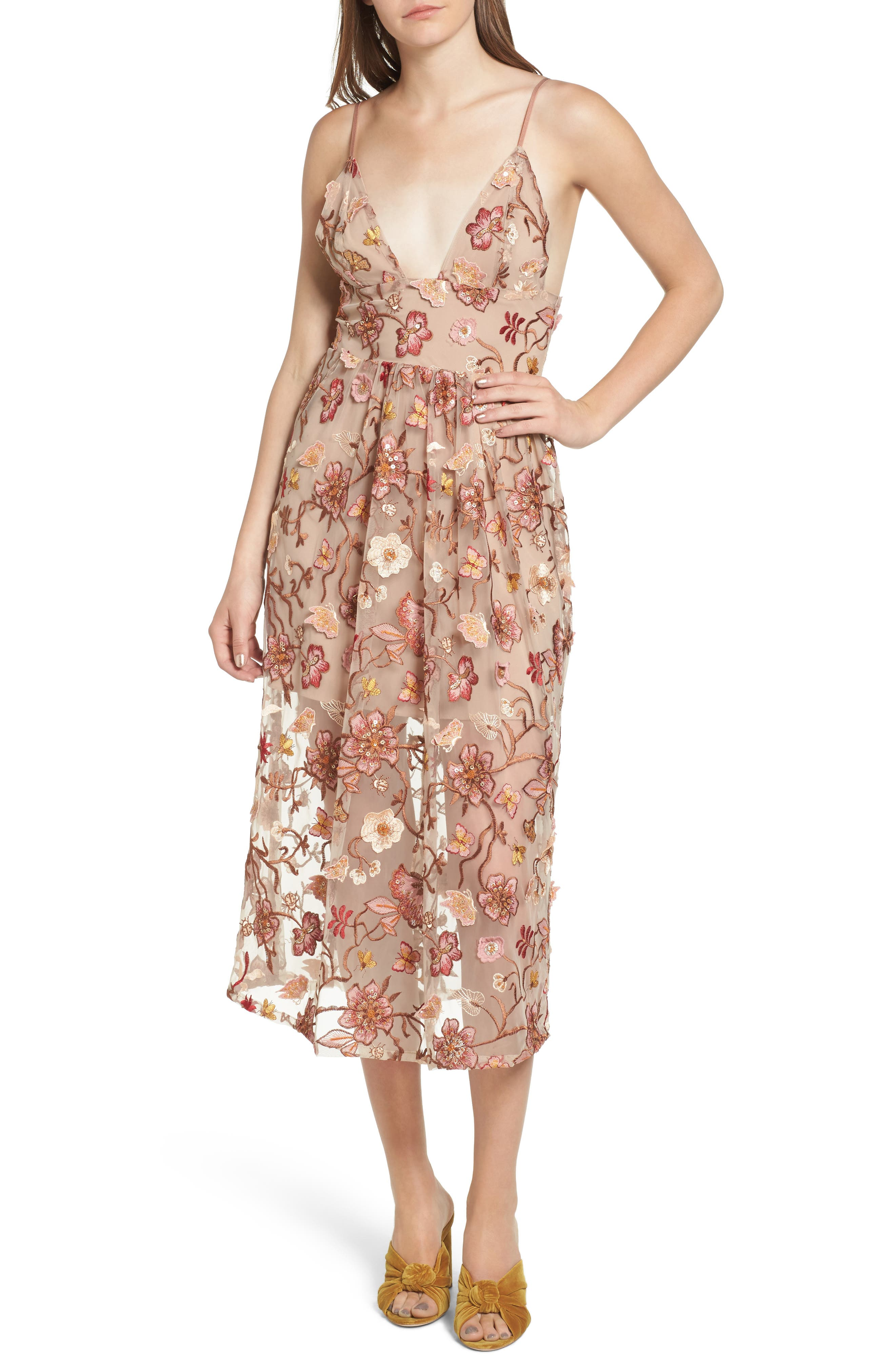 Botanic Midi Dress,                         Main,                         color, Nude Floral