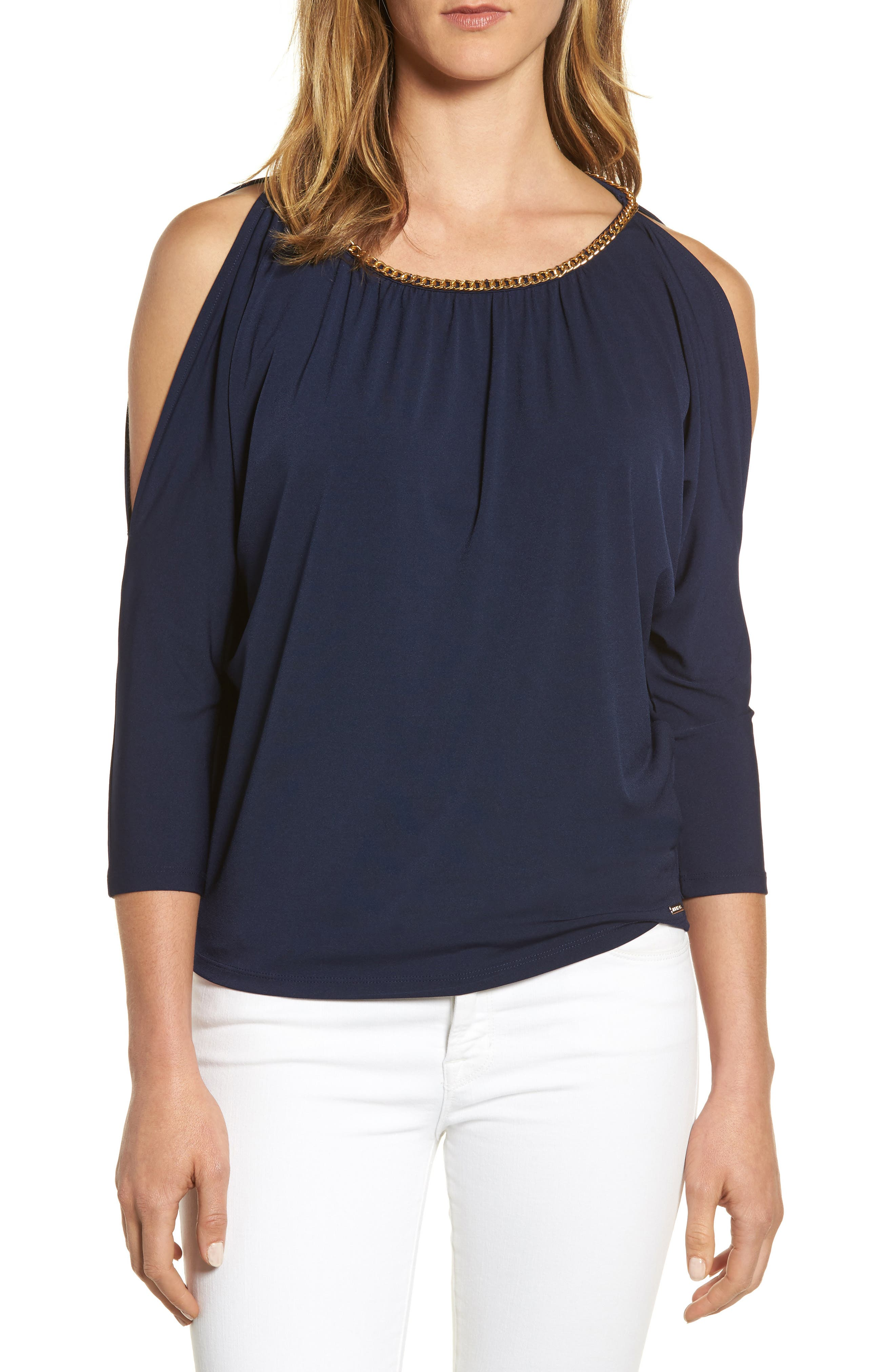 MICHAEL Michael Kors Chain Neck Cold Shoulder Top