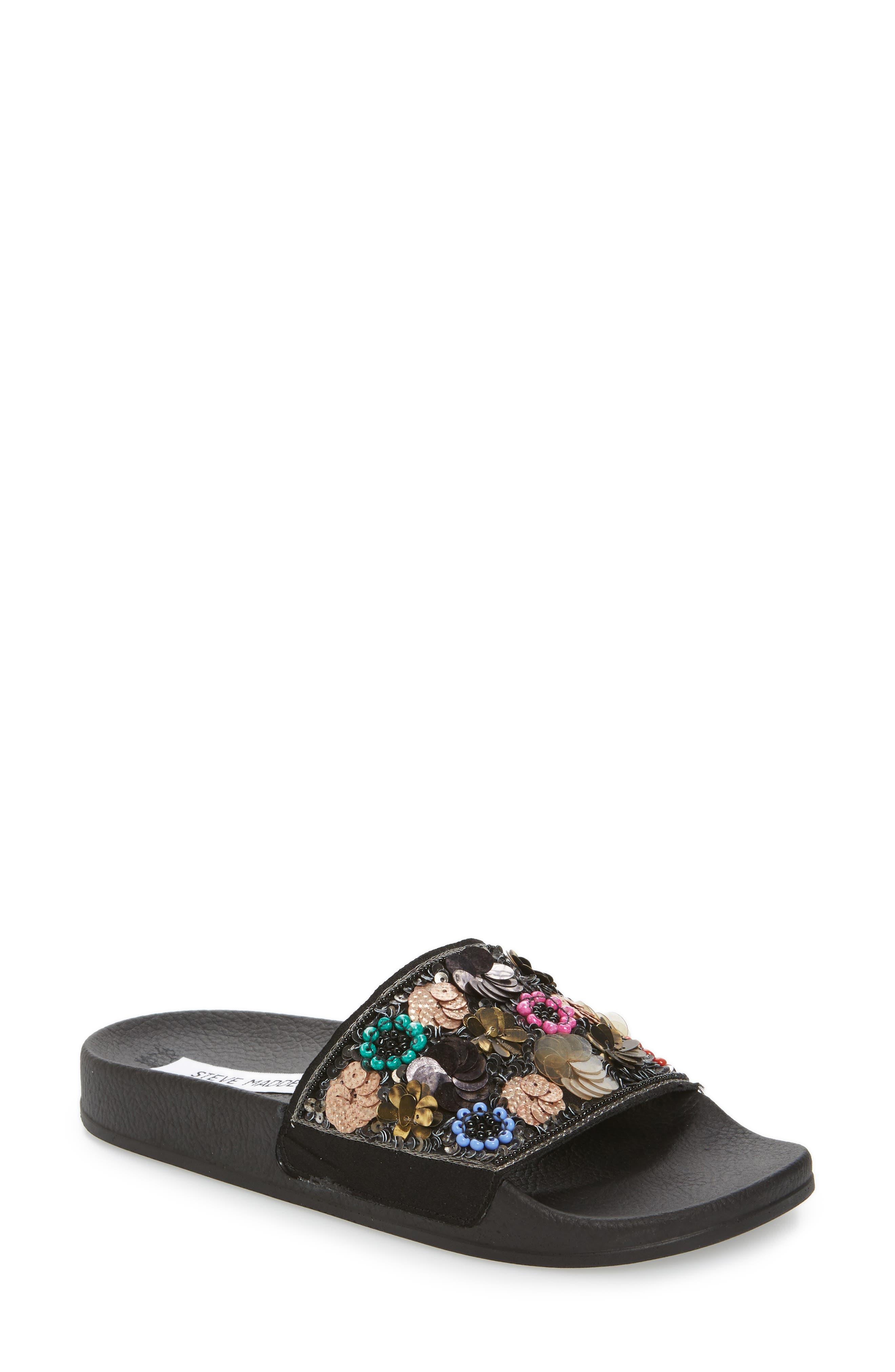 Maddy Embellished Slide Sandal,                             Main thumbnail 1, color,                             Flower Multi